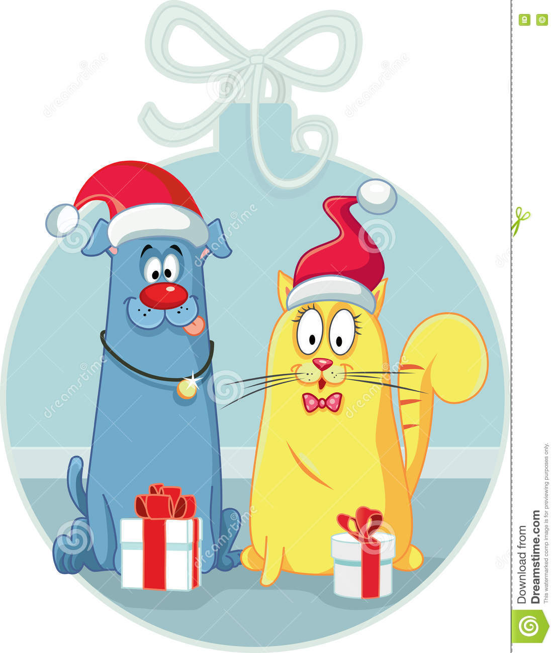 Cat And Dog With Christmas Gifts Vector Cartoon Stock Vector ...