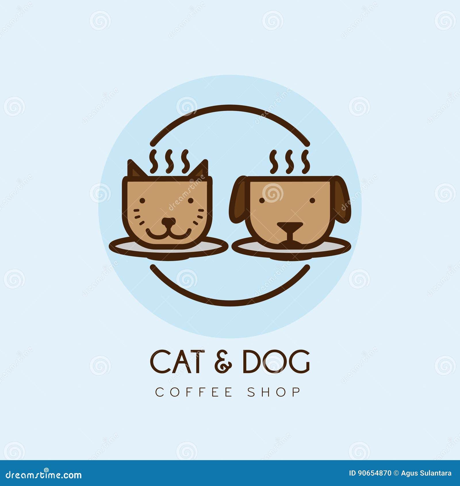Cat Dog Coffee Cafe Shop Logo Design Stock De Ilustracion Ilustracion De Design Coffee 90654870