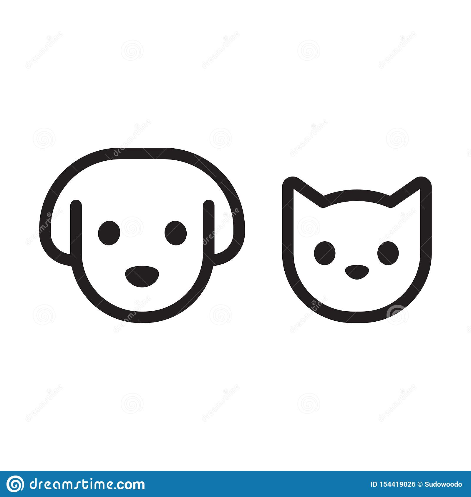 Cat And Dog Head Icon Stock Vector Illustration Of Canine 154419026