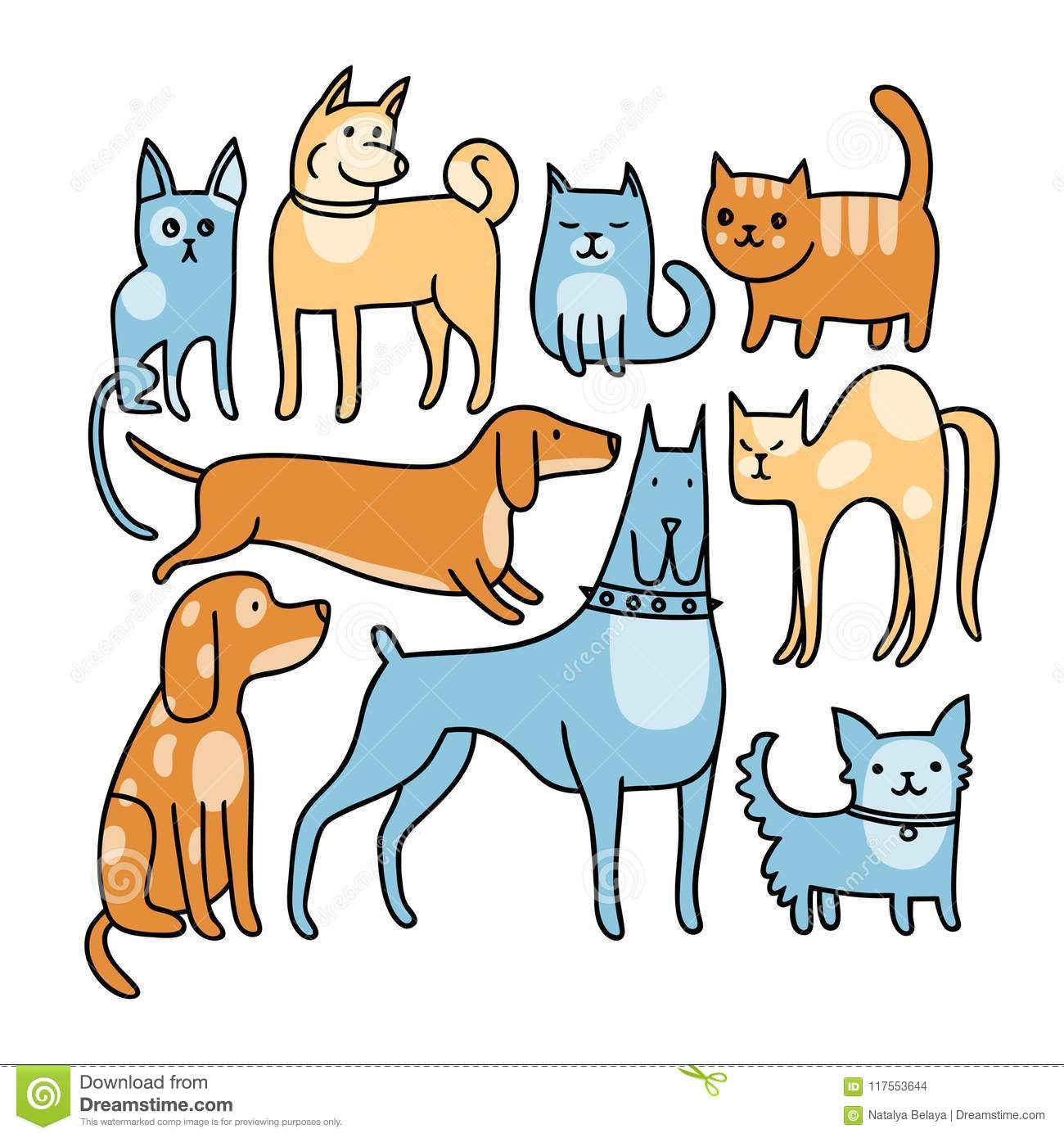 Cat and dog stock vector. Illustration of puppy, cute