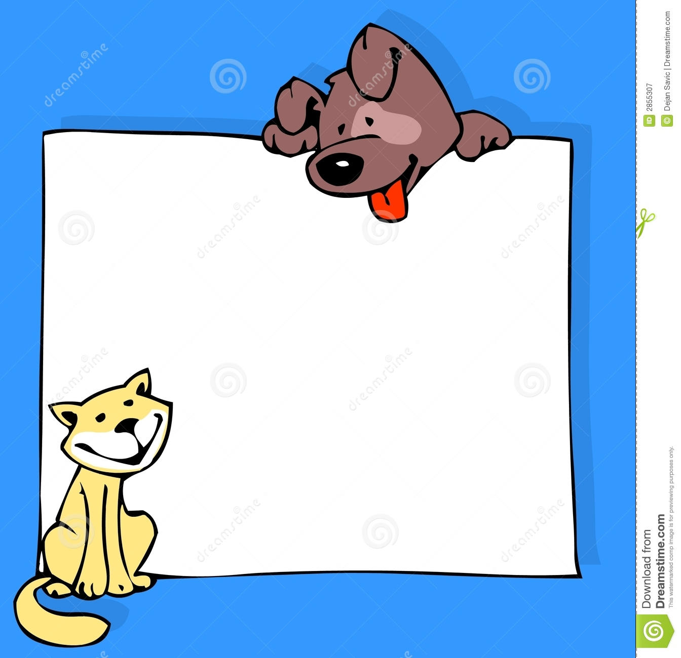 Download Cat Dog And Poster In Color Stock Illustration - Illustration of news, black: 2855307