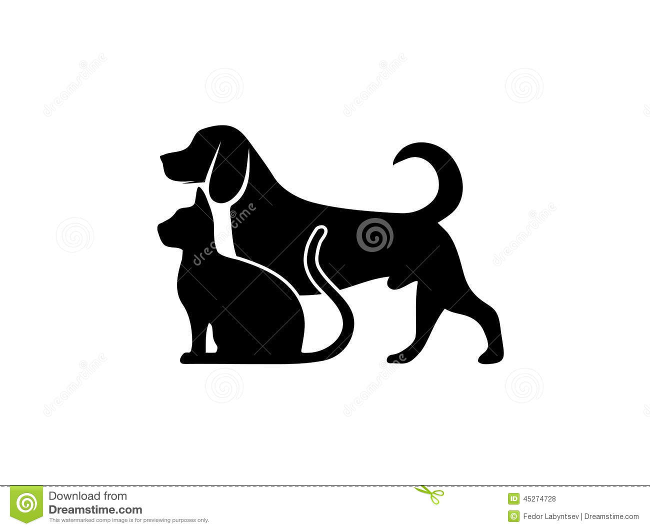 cat and dog symbol of veterinary medicine stock vector
