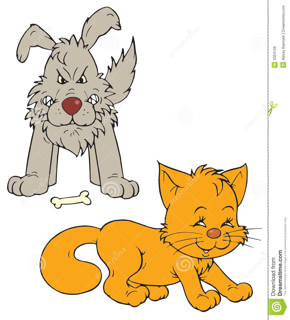 Dog Chasing Cat Clip Art Cat and dog  vector clip-art