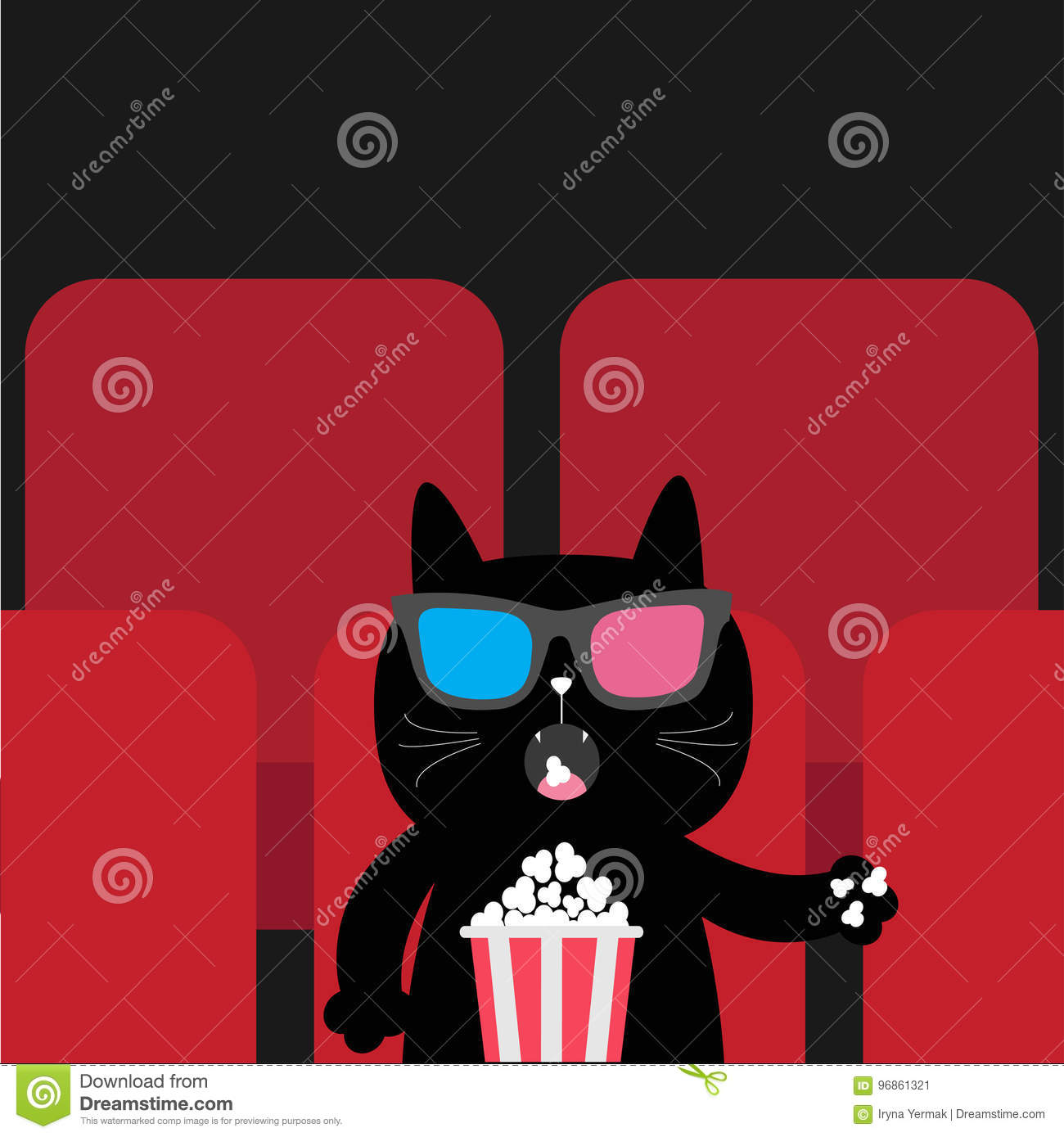 5762c6f56d7 Cat eating popcorn in movie theater. Cute cartoon character. Film show  Cinema background.