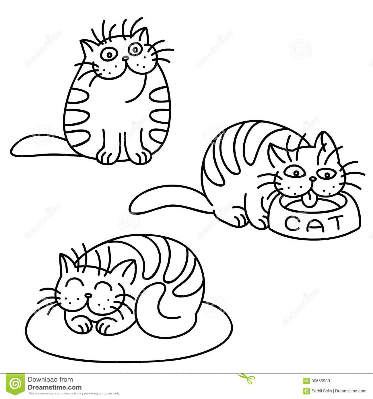 Cat Contour Line Drawing : Cat emoticons set isolated vector illustration stock