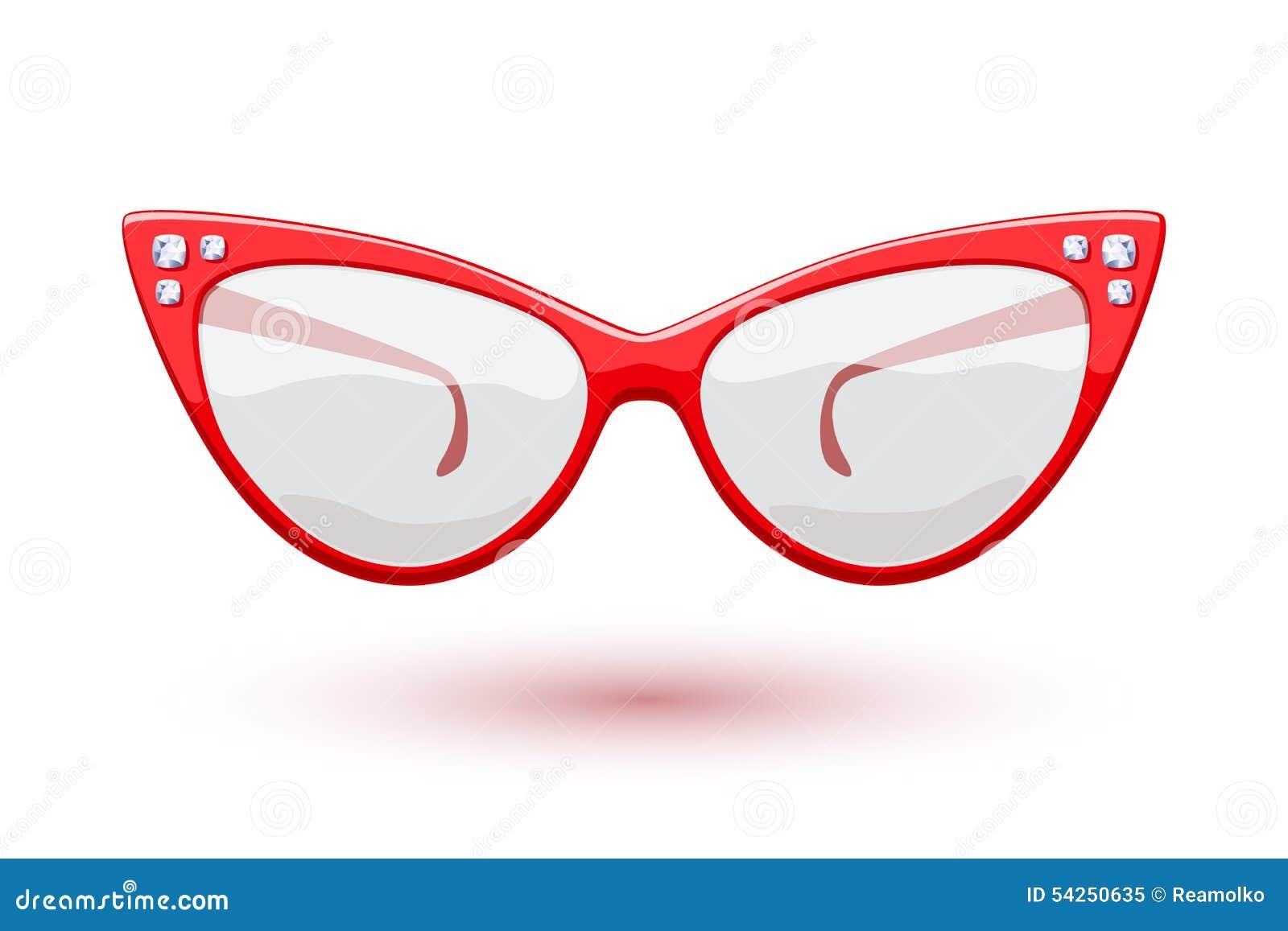 92c251e590 Cat eye red retro glasses with diamonds gemstones illustration. Eye wear  logo design.