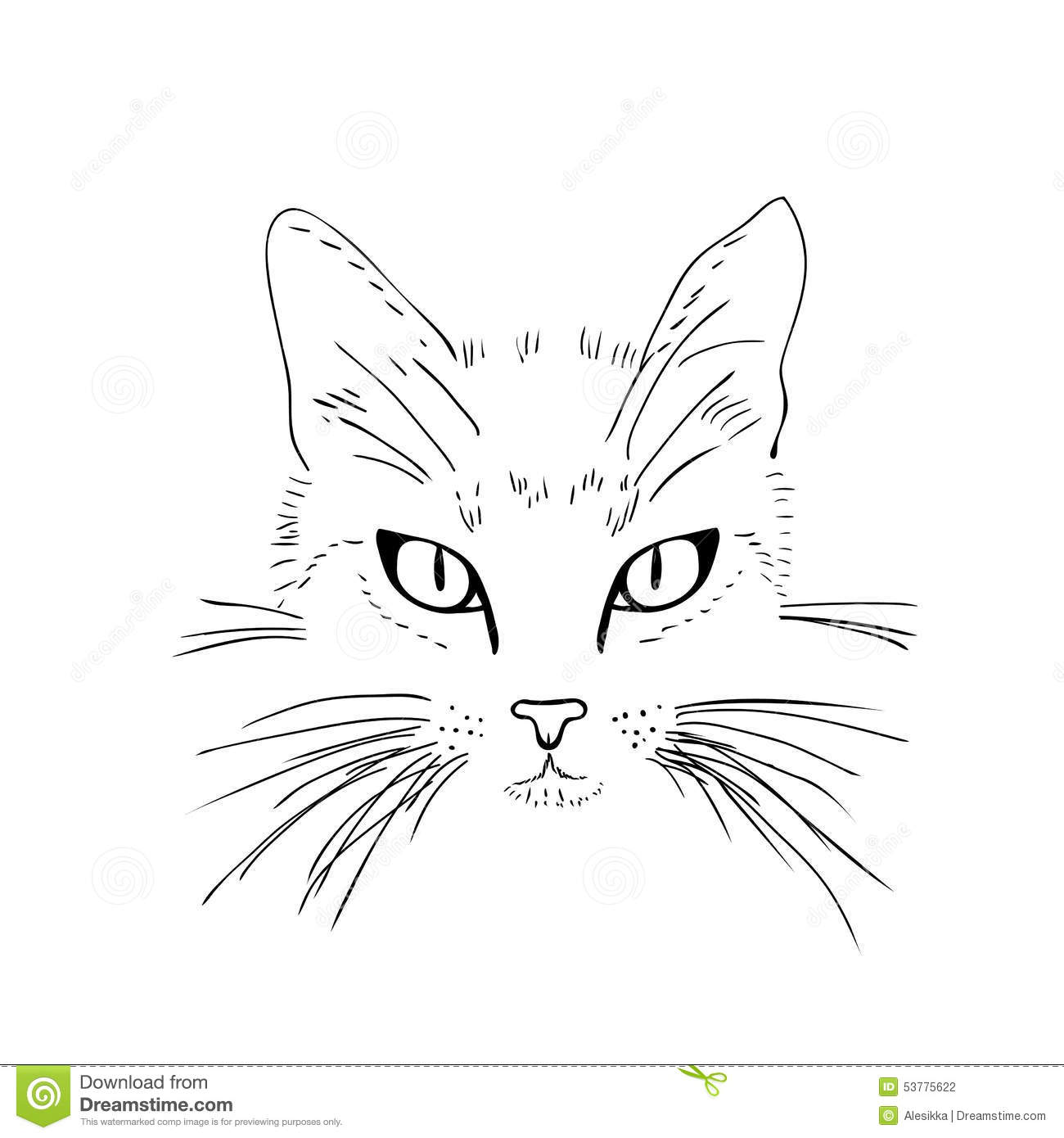 Line Drawing Of A Cat Face : Cat face black and white sketch stock illustration