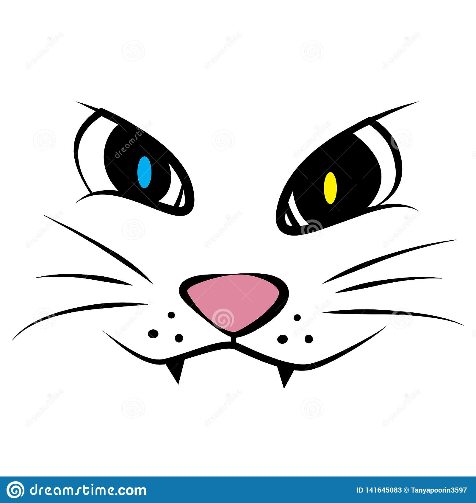 Cat Face Cartoon Isolated On White Background Stock Vector