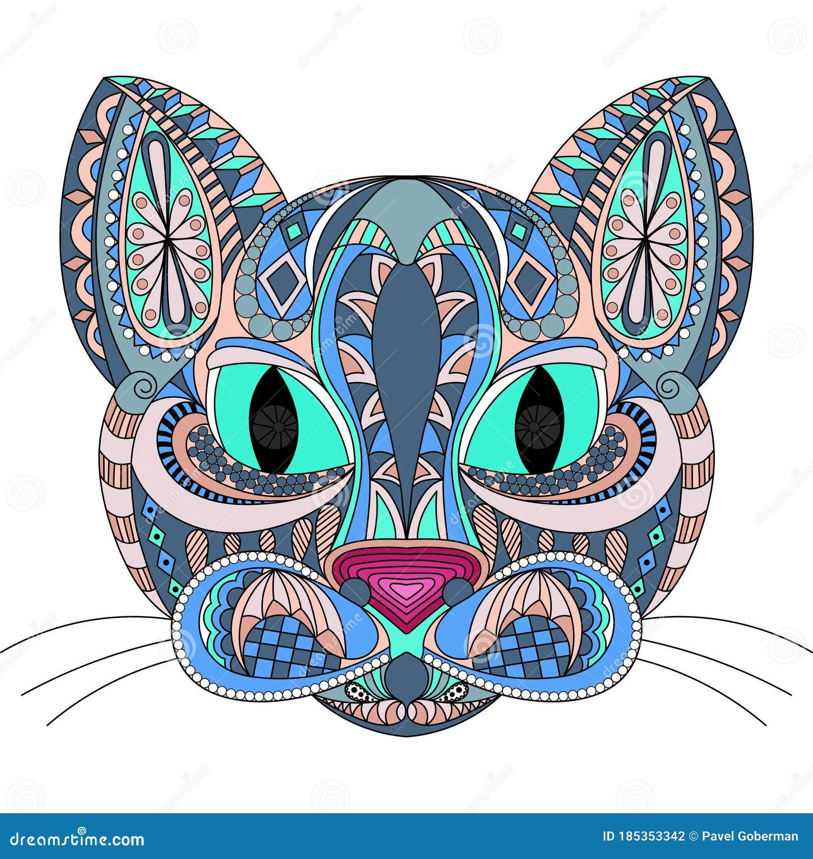 Cat Face Doodle. Color Stylized Cat, Ornament. Coloring ...