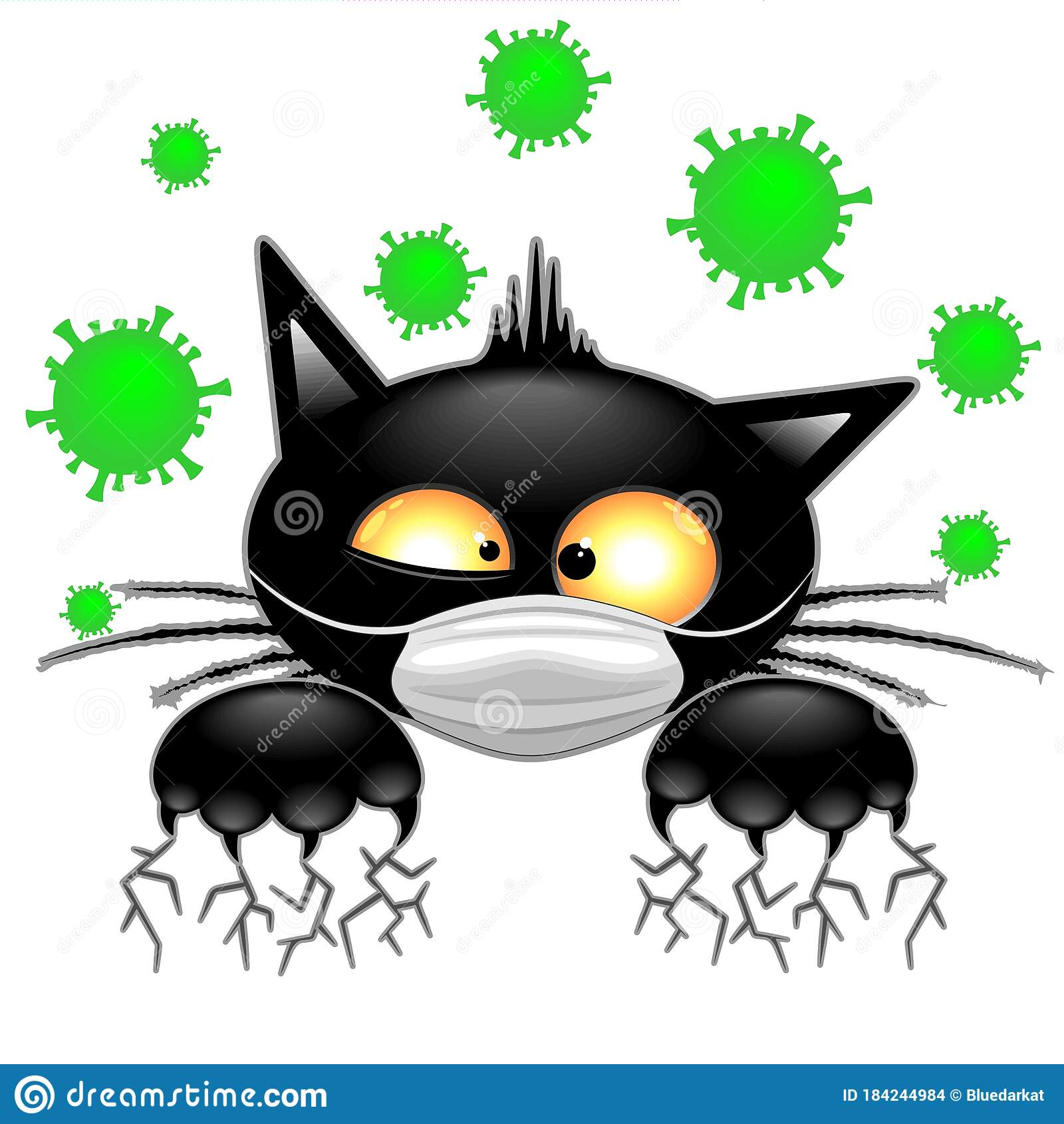 Cat With Face Mask Scared By Virus Covid19 Humorous Cartoon