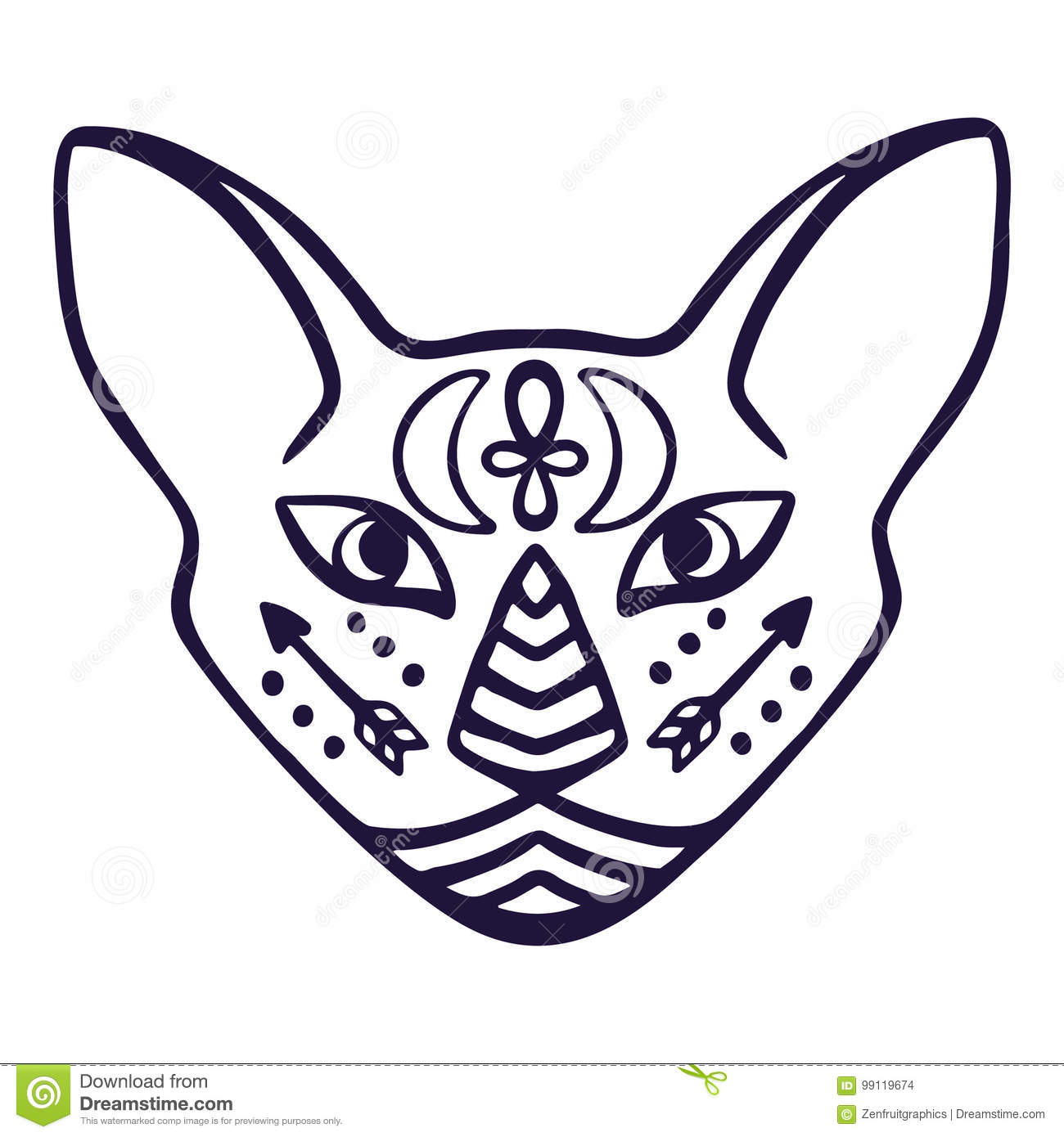 Cat face vector sacred animal of ancient egypt cat face with sacred animal of ancient egypt cat face with egyptian hieroglyphic symbols hand drawn tattoo cat isolated on wh biocorpaavc