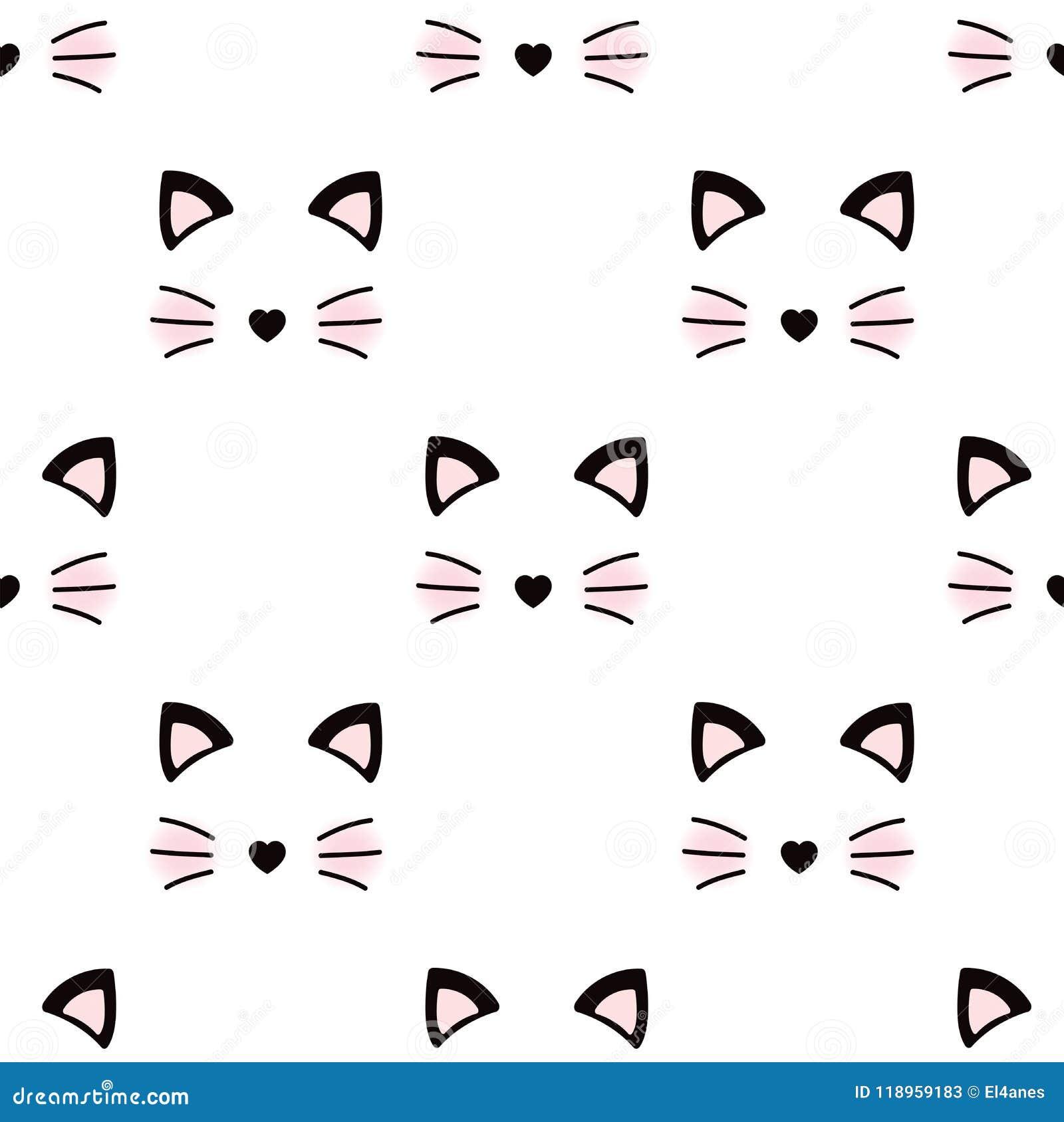Cat Face Wallpaper Stock Vector Illustration Of Animal 118959183