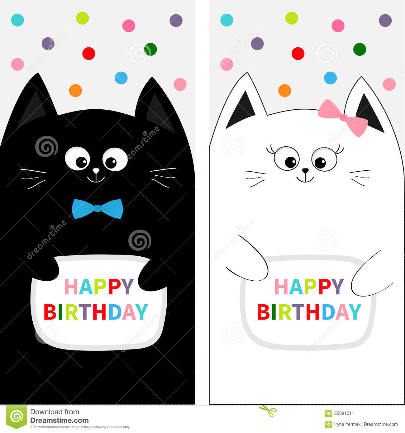 Flyer Poster Set Cute Funny Cartoon Character Happy Birthday Greeting Card Flat Design White Background Colorful Round Dots Vector Illustration