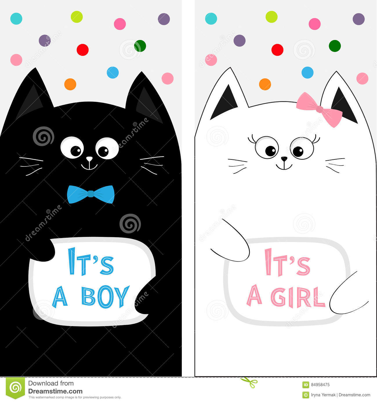 adbc1304c5a Cat family couple with bow. Flyer poster set. Cute funny cartoon character.  Its a boy girl. Baby shower greeting card. Flat design. White background.