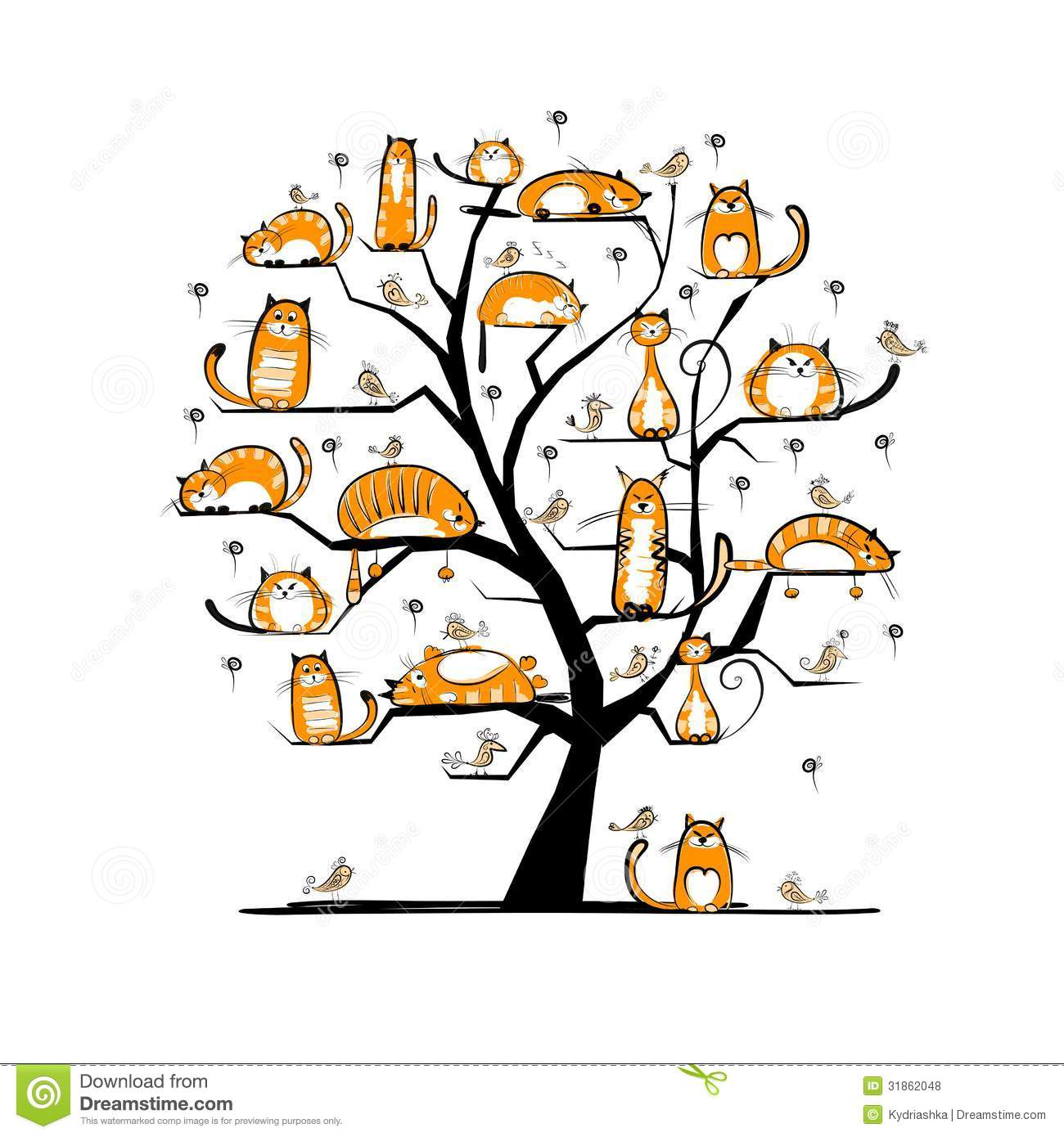 Cat Family Tree For Your Design Stock Vector Illustration Of