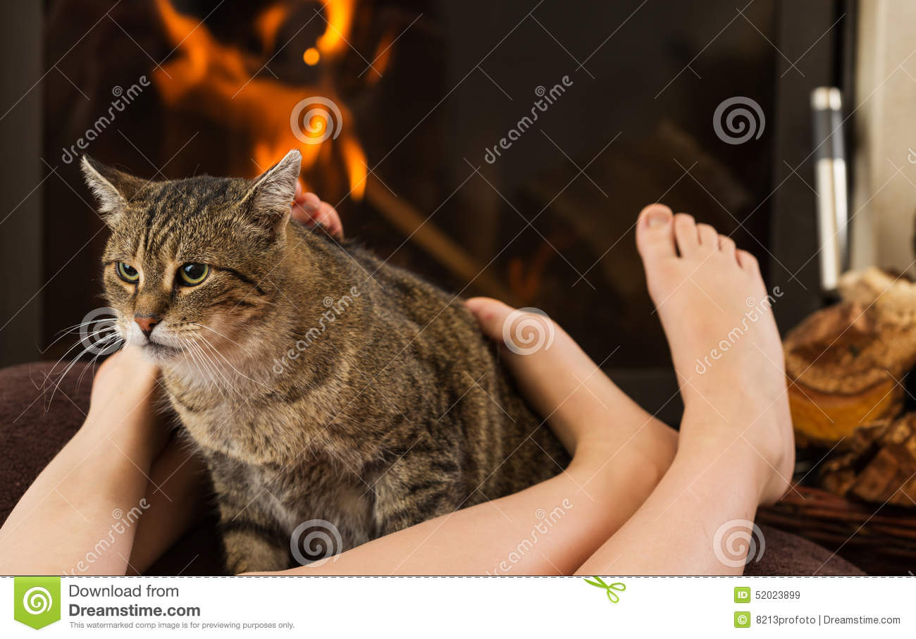 Cat And Feet In Front Of The Fireplace Stock Photo - Image: 52025974