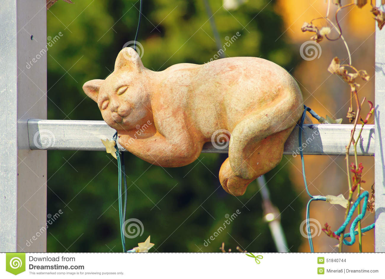 Cat figure stock photo image 51840744 for Cat outdoor christmas decorations