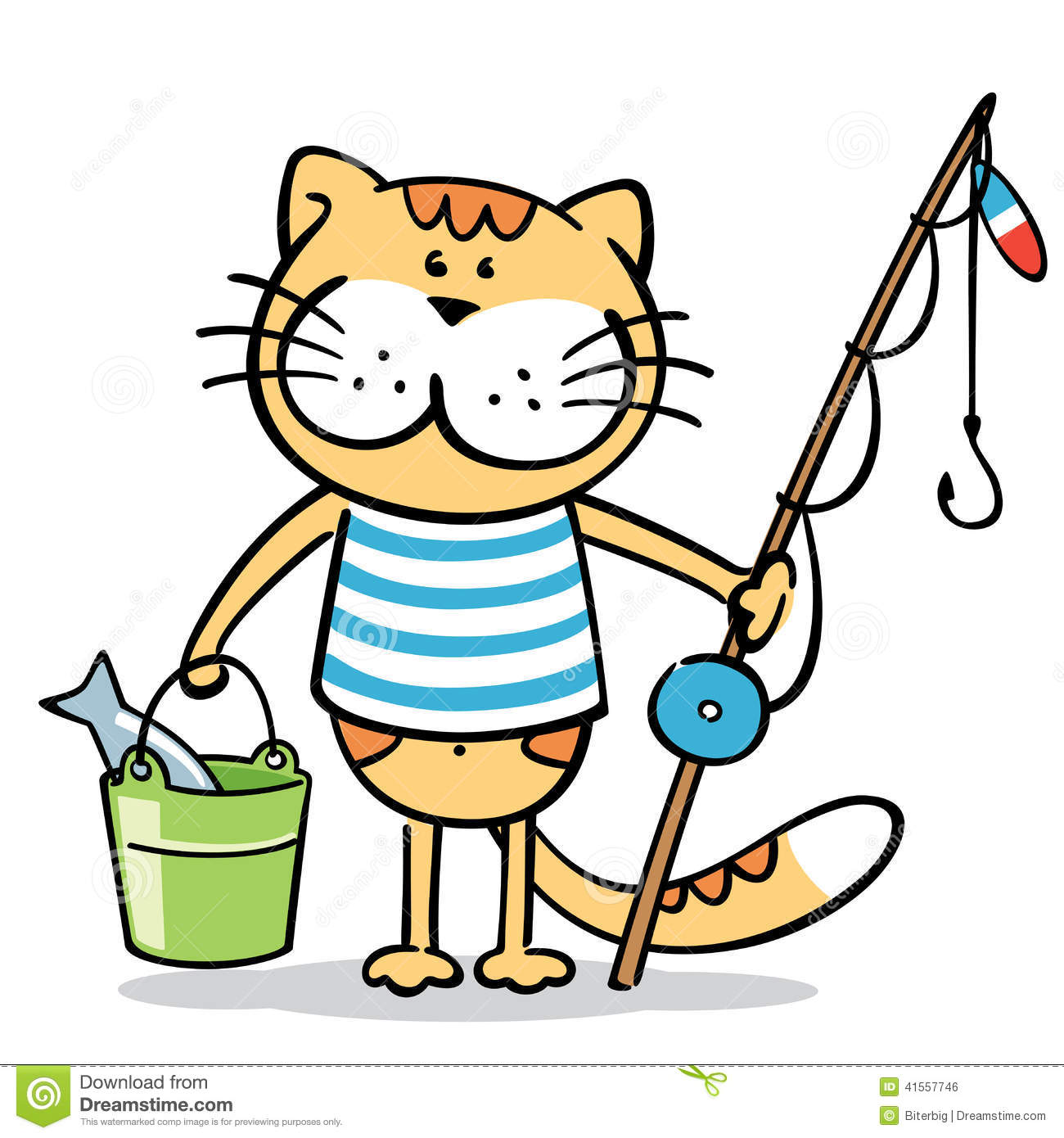 Cat with fishing rod and a fish in bucket stock vector for Cat fishing pole
