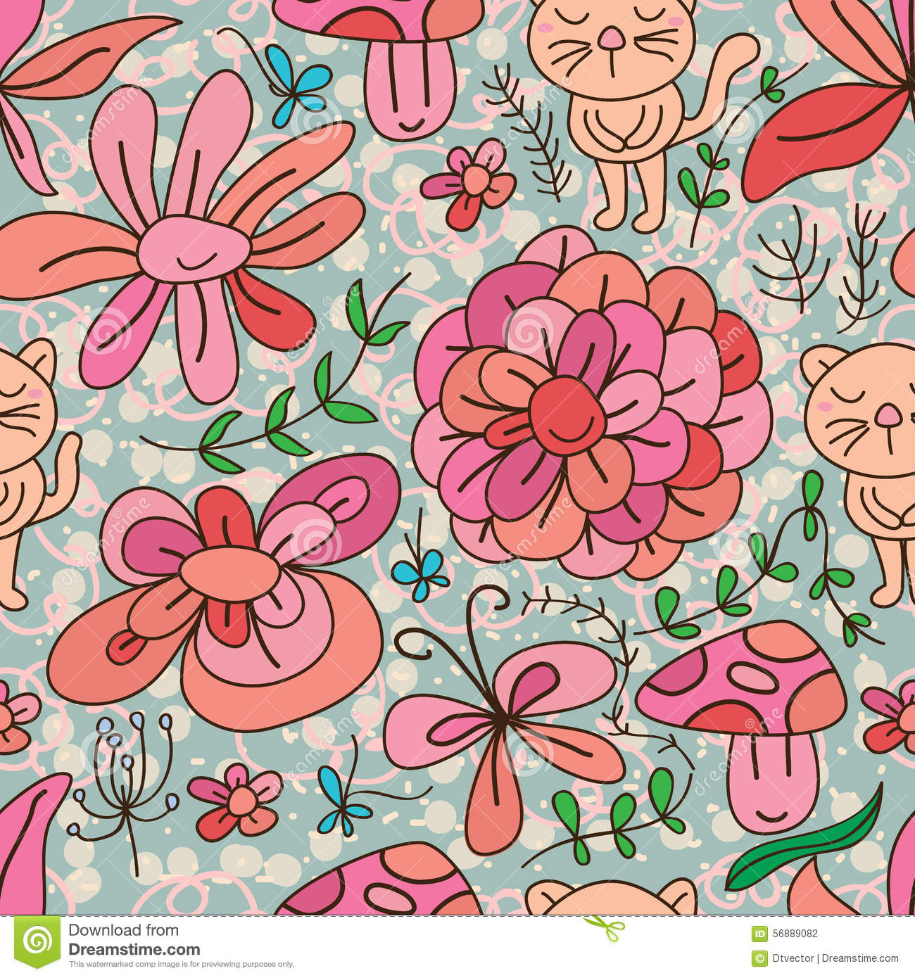 Cat flower natural seamless pattern stock vector illustration of cat flower natural seamless pattern mightylinksfo