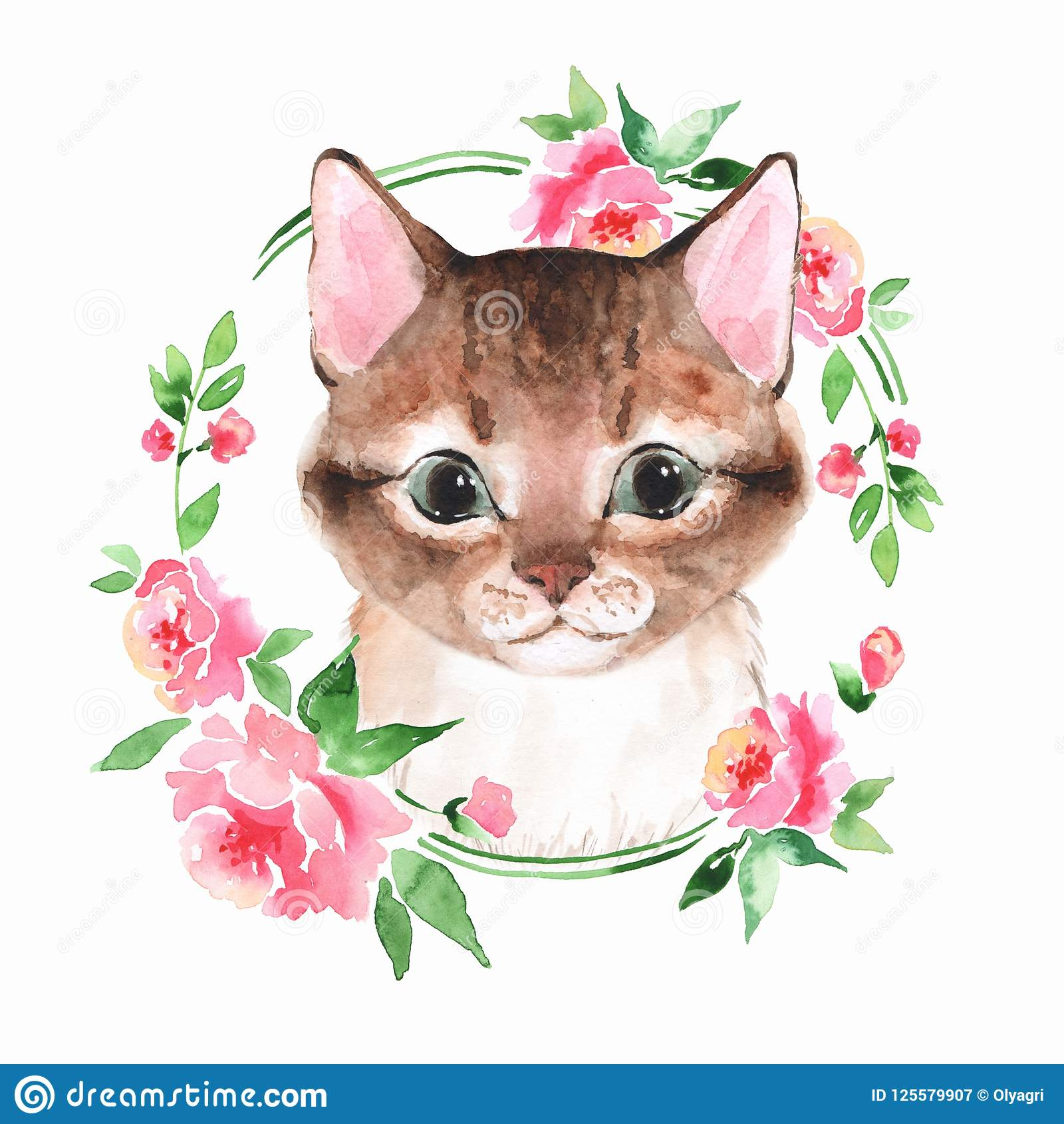 Cat and flowers. Watercolor illustration 4