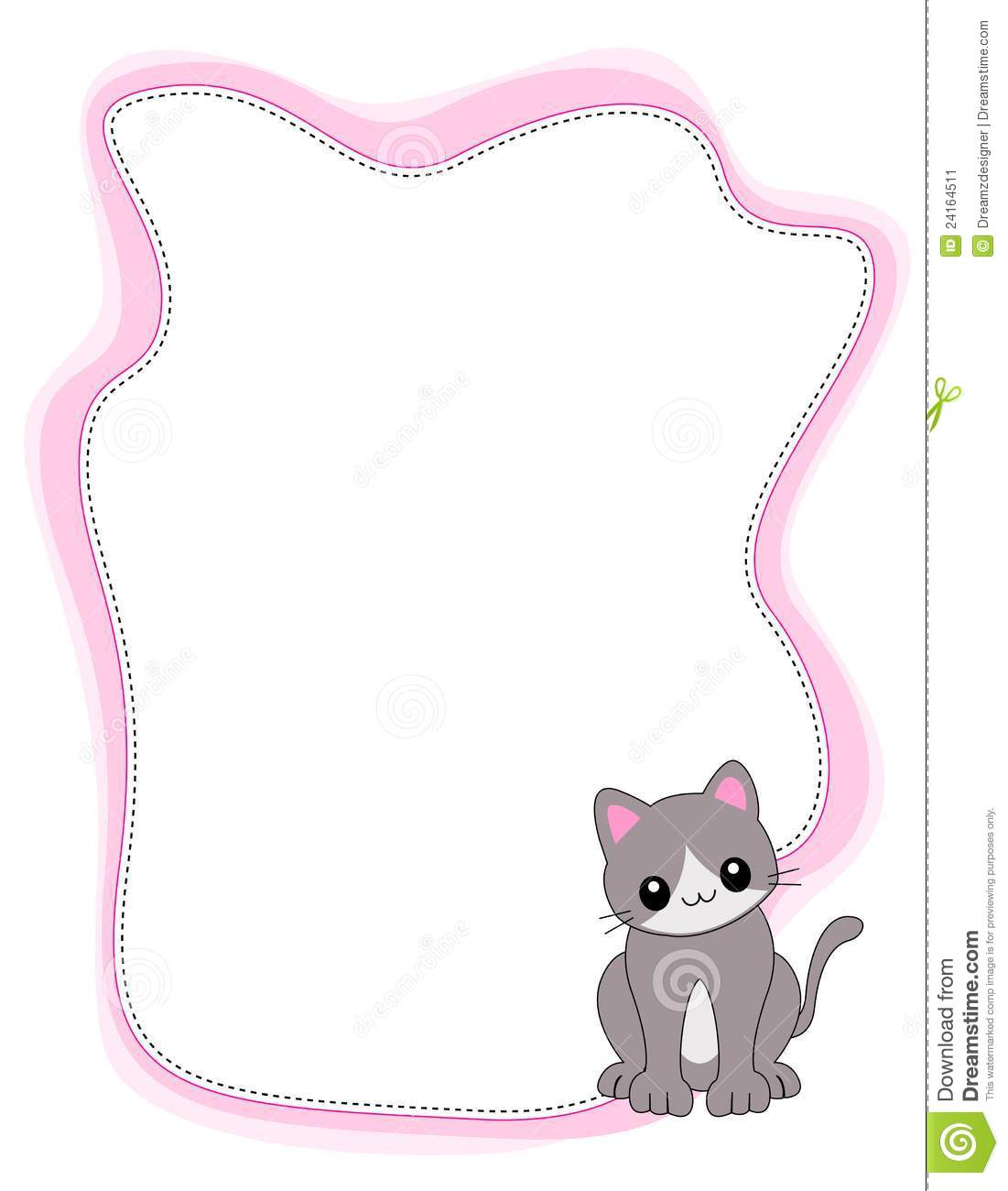 Illustration of a cute little kitten with pink border / frame.