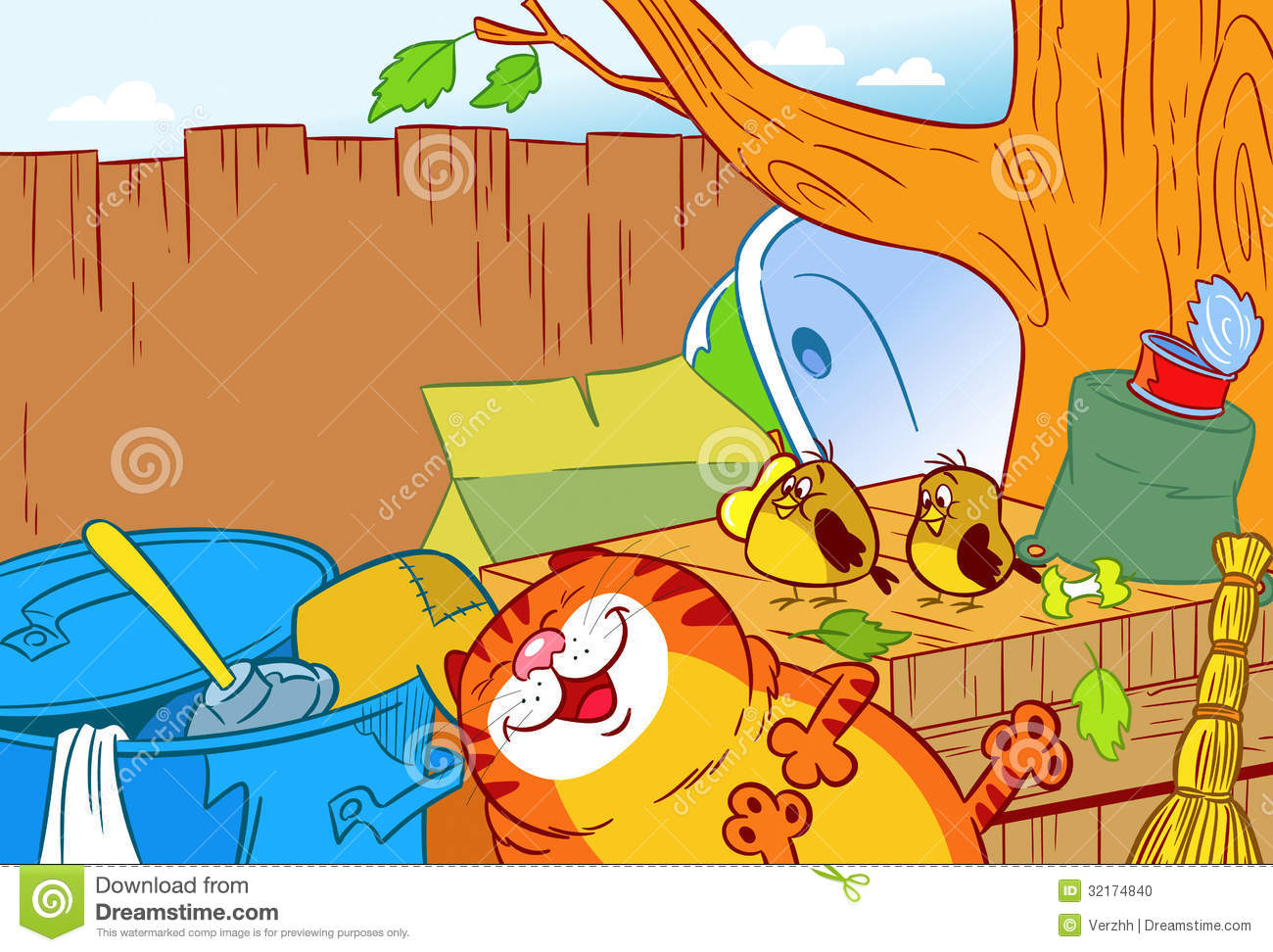 Cat in the garbage stock photo image 32174840 - Cat cartoon shows ...