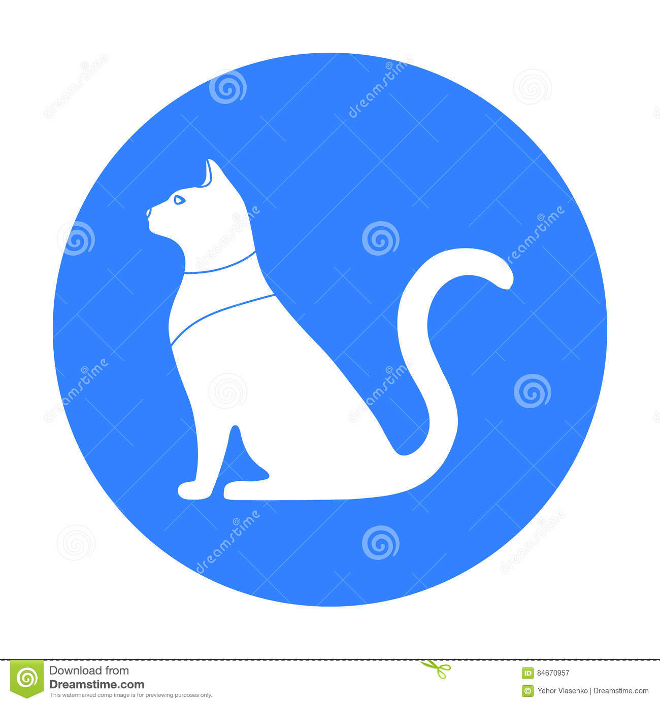 Cat Goddess Bastet Icon In Black Style Isolated On White Background