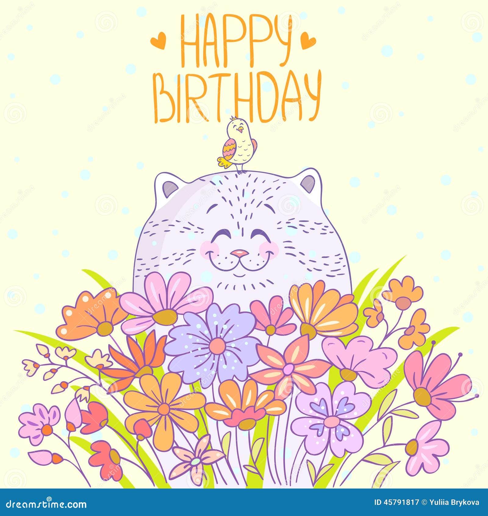 cat happy birthday vektor abbildung bild von zeichnung 45791817. Black Bedroom Furniture Sets. Home Design Ideas