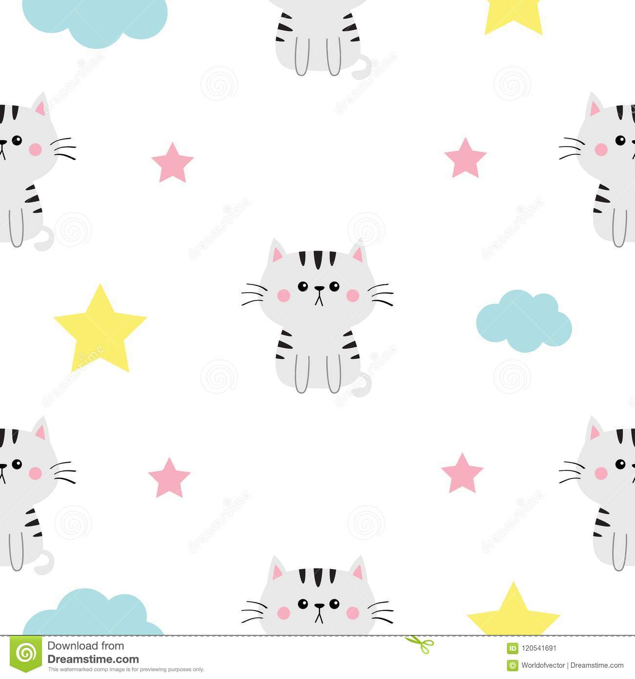 Cat Head Hands Cloud Star Shape Cute Cartoon Kawaii Character