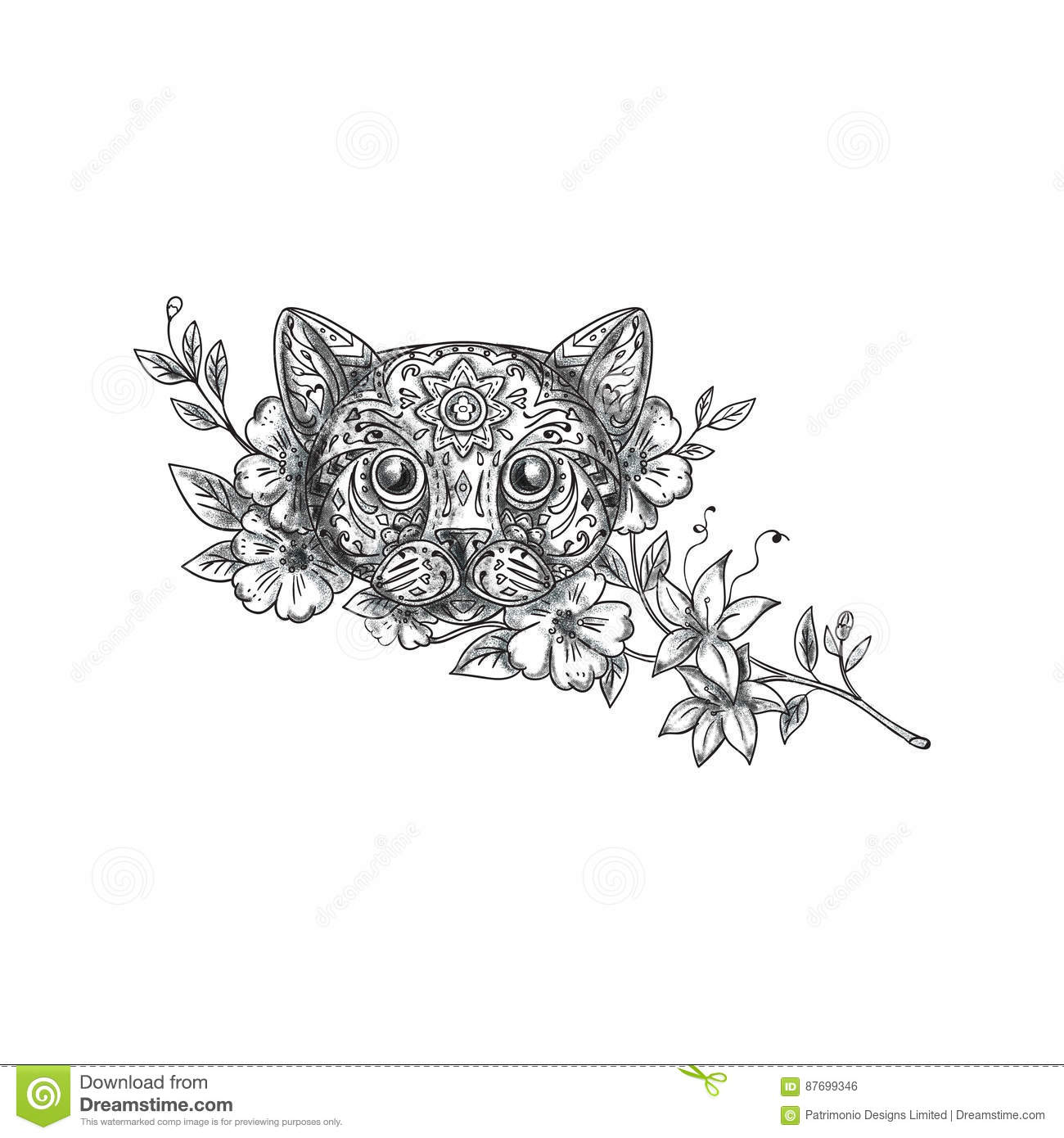Cat Head Jasmine Flower Tattoo Stock Illustration Illustration Of