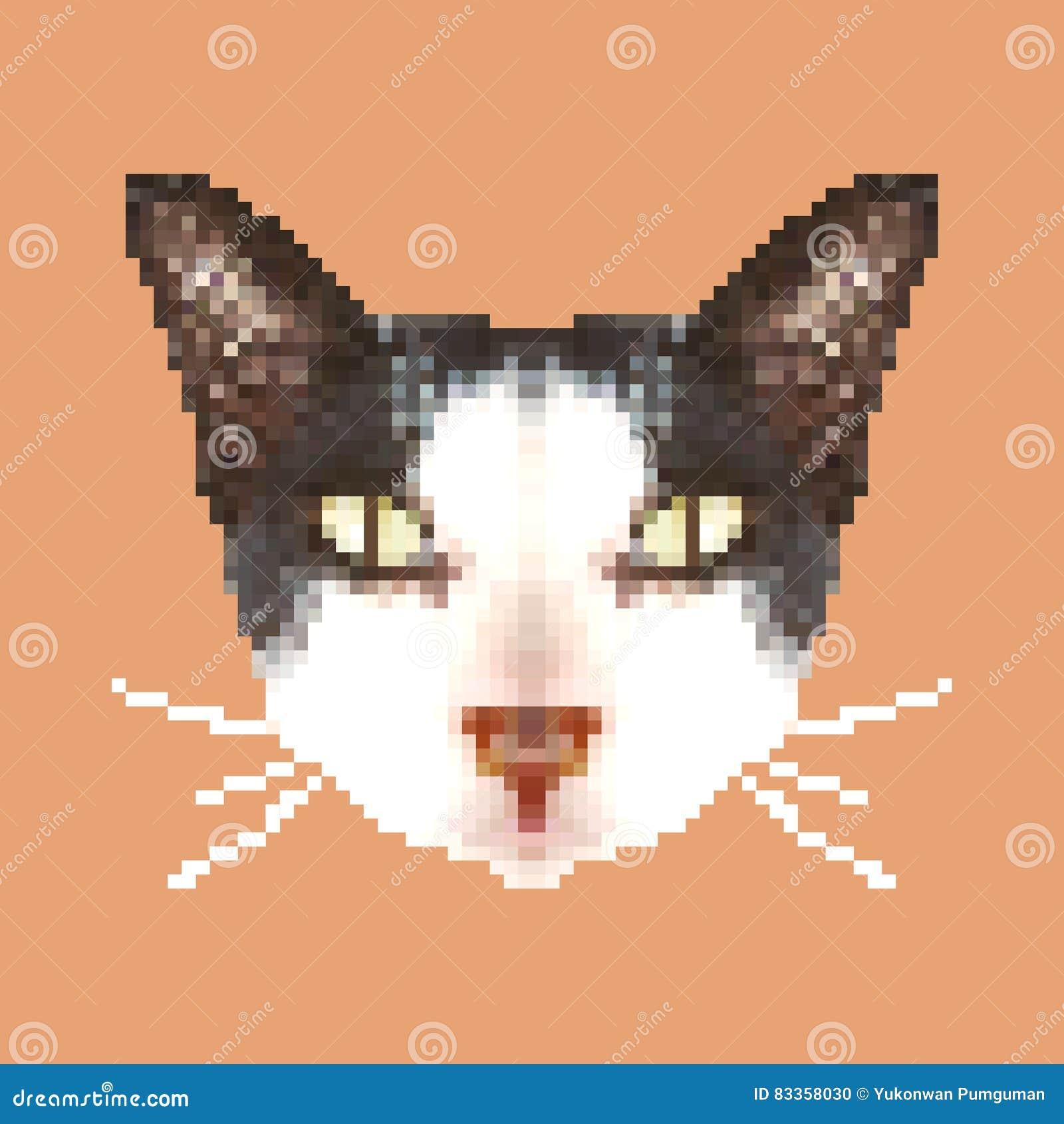 Cat Head Pixel Art Isolated Square Animal Vector Stock