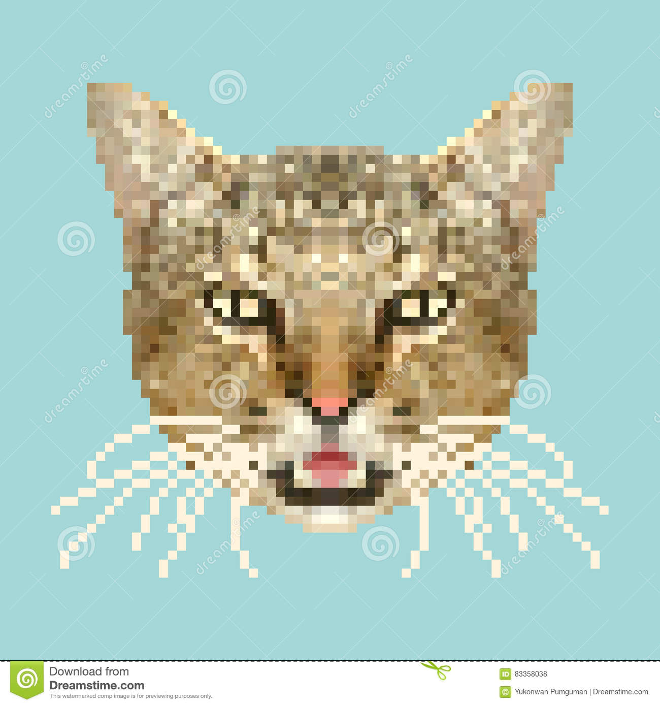 Cat Head Pixel Art Vector Isolated Square Animal Stock