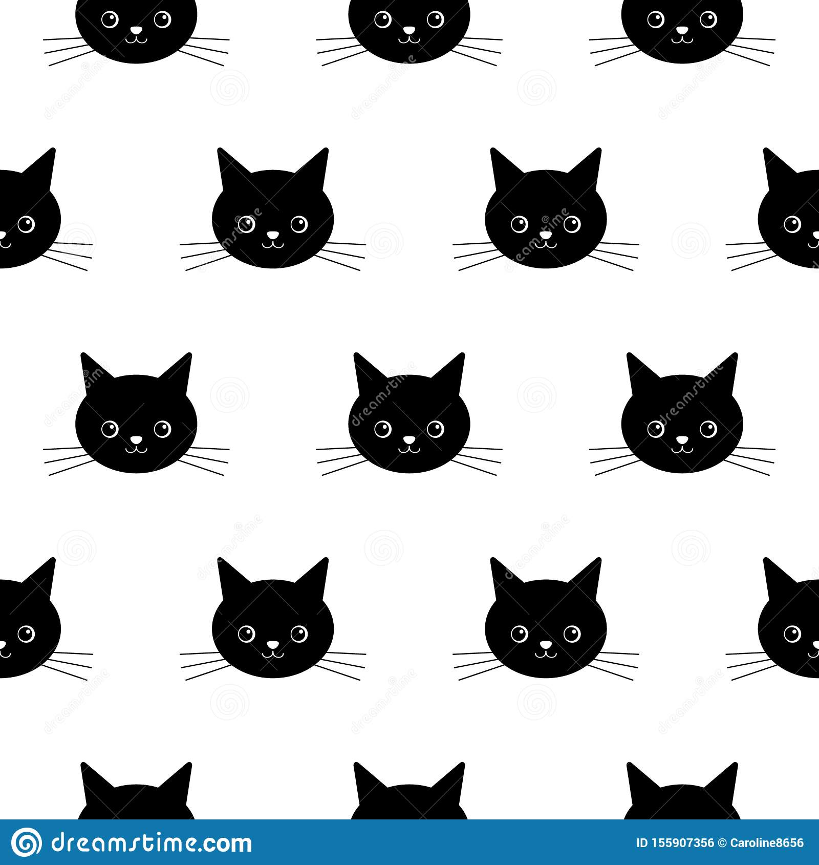 Cat Head Seamless Pattern Vector Halloween Isolated Wallpaper Background Stock Vector Illustration Of Symbol Sketch 155907356