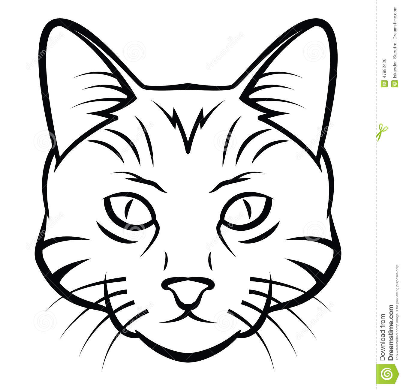 Line Drawing Of A Cat Face : Cat head tattoo vector illustration stock