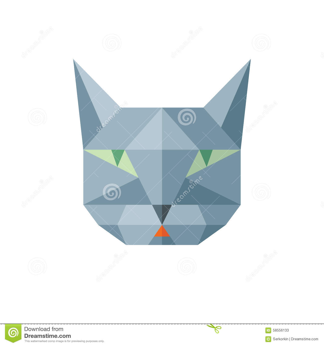 Cat Head Vector Sign Illustration In Abstract Polygonal