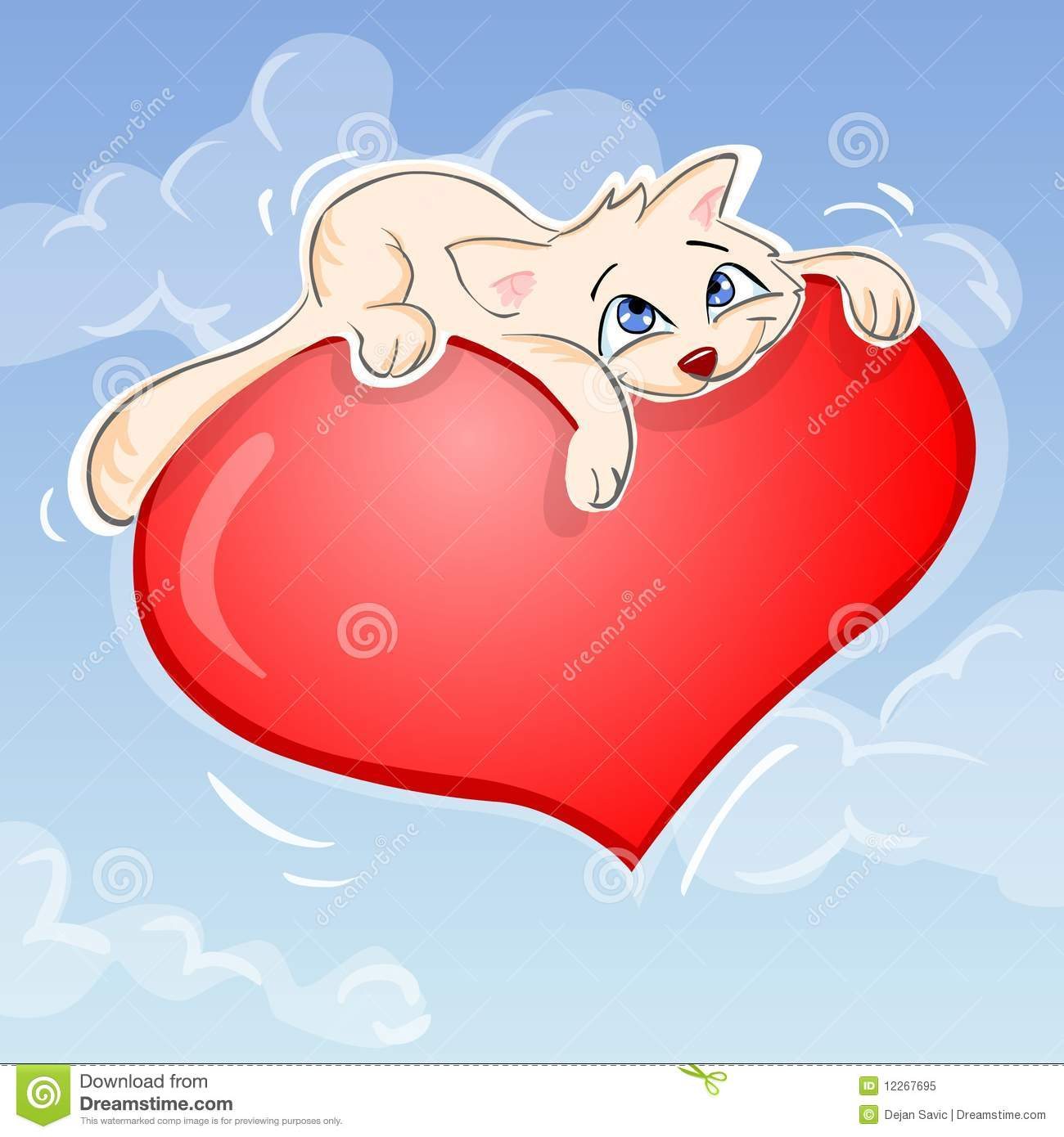 Download Cat and heart stock illustration. Illustration of illustration - 12267695