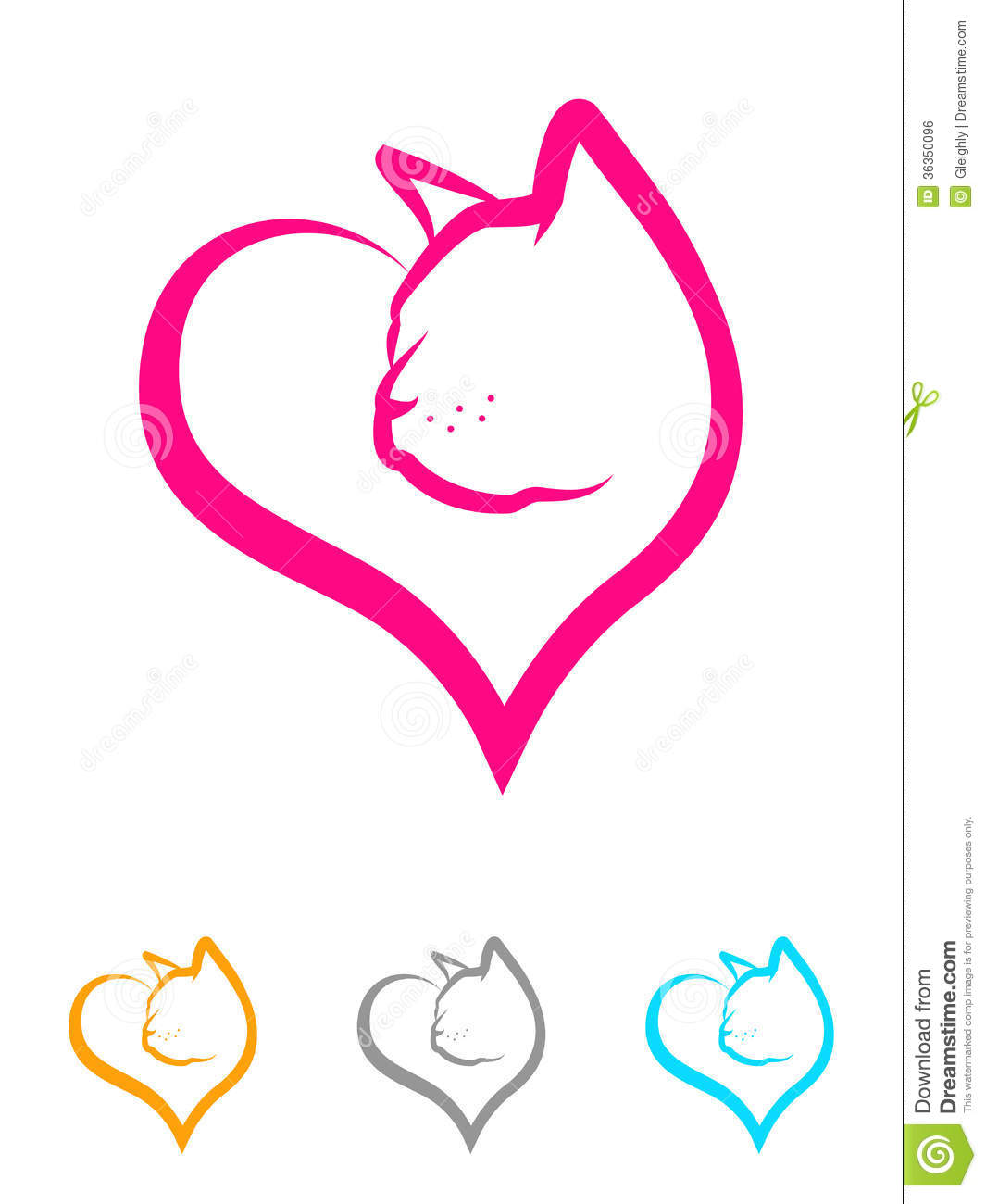 Dog And Cat Silhouette With Heart