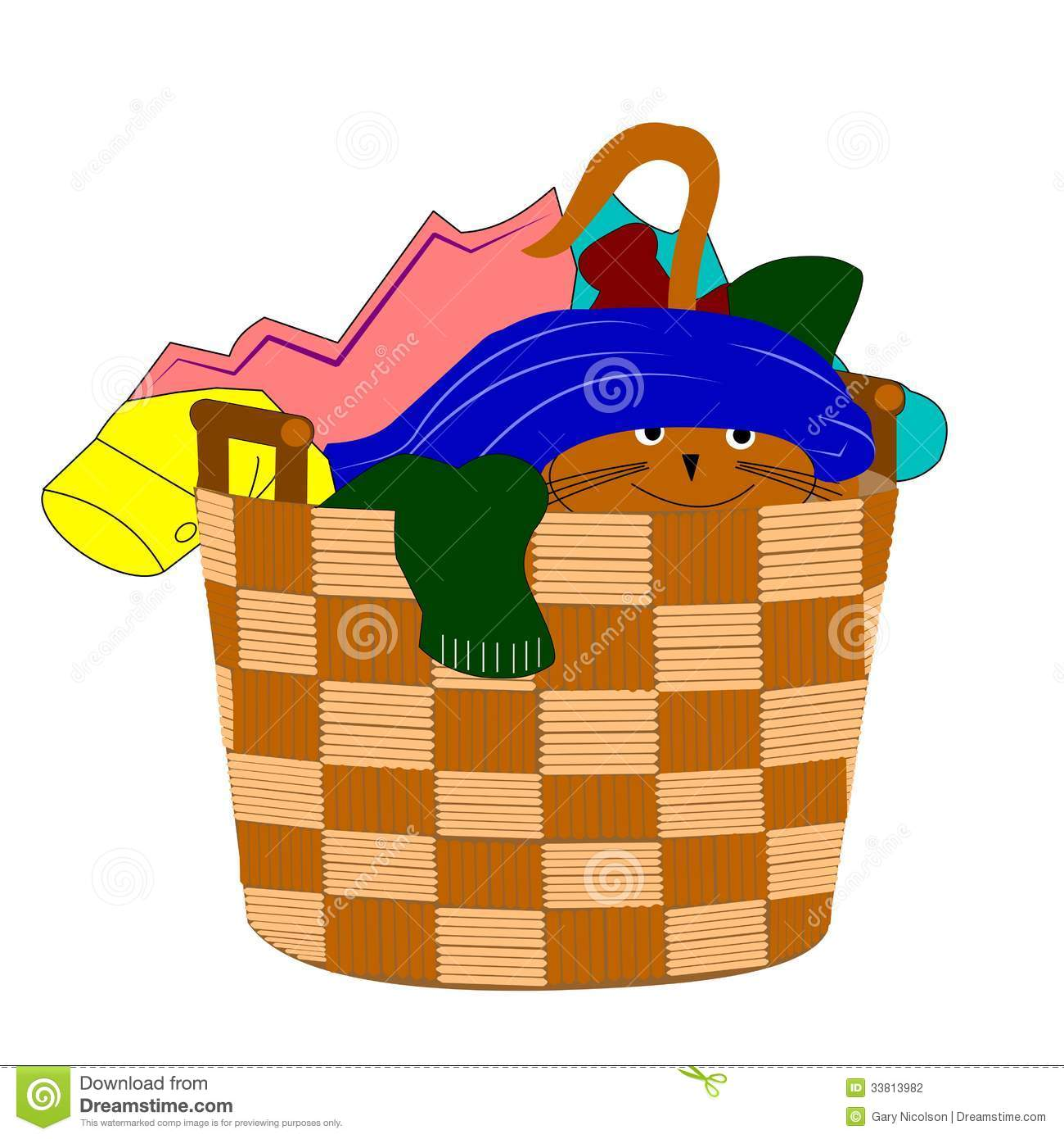 cat hiding in laundry stock vector illustration of basket laundry basket with clothes vector Move in Day Vector