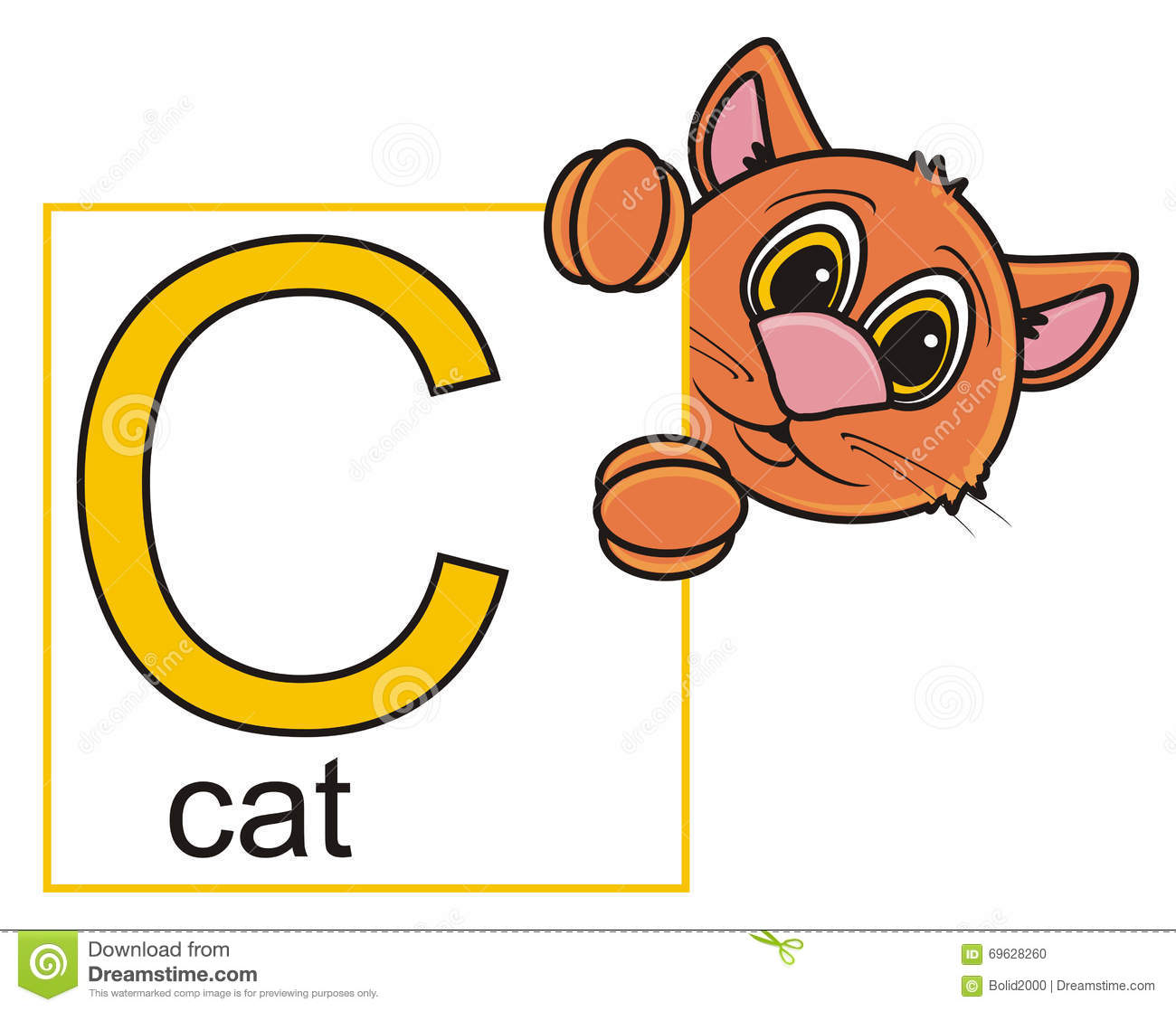 Cat Holding A Sign With The Letter C Stock Illustration