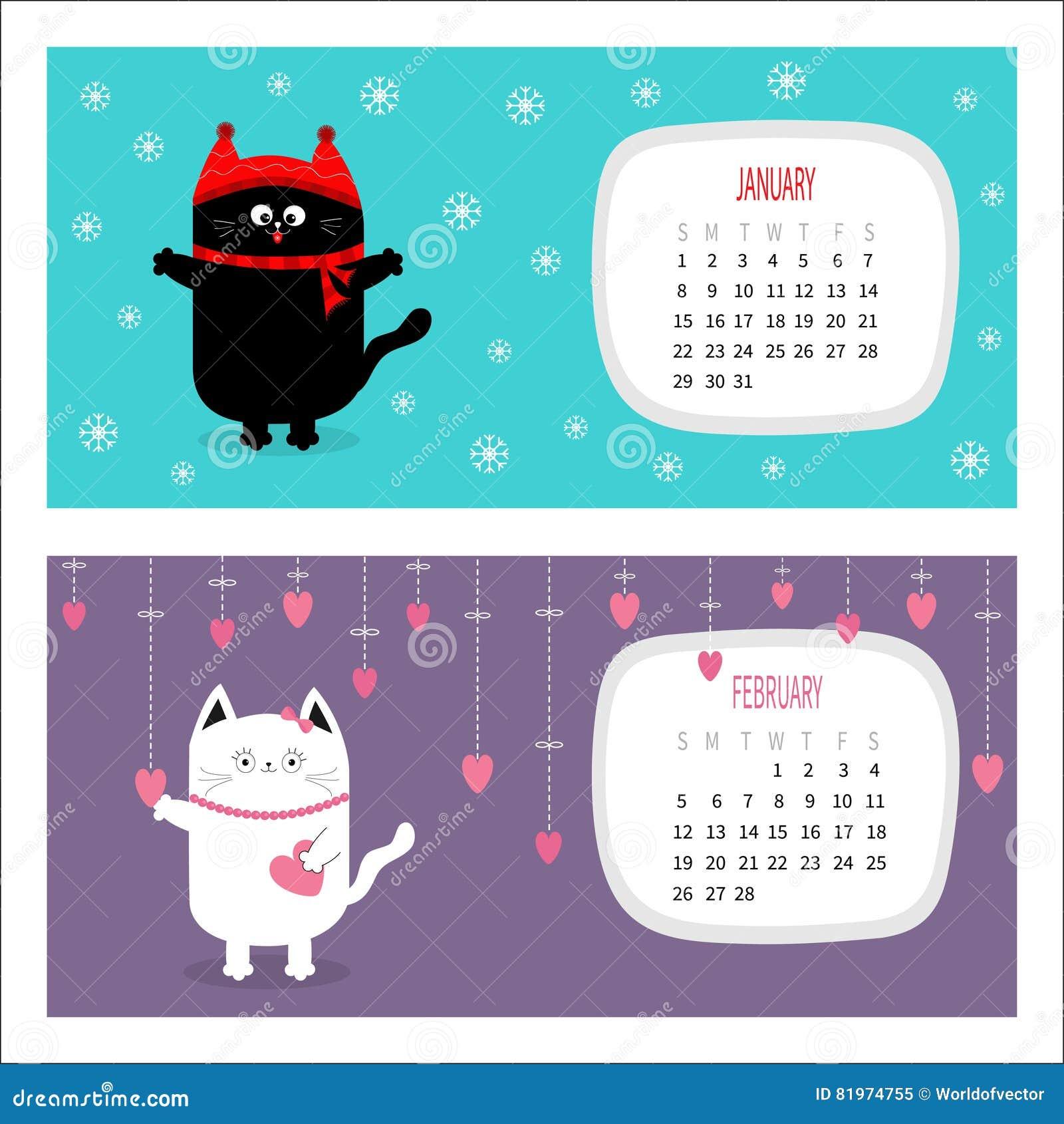 Cat Calendar 2017 Horizontal Cute Funny Cartoon Character