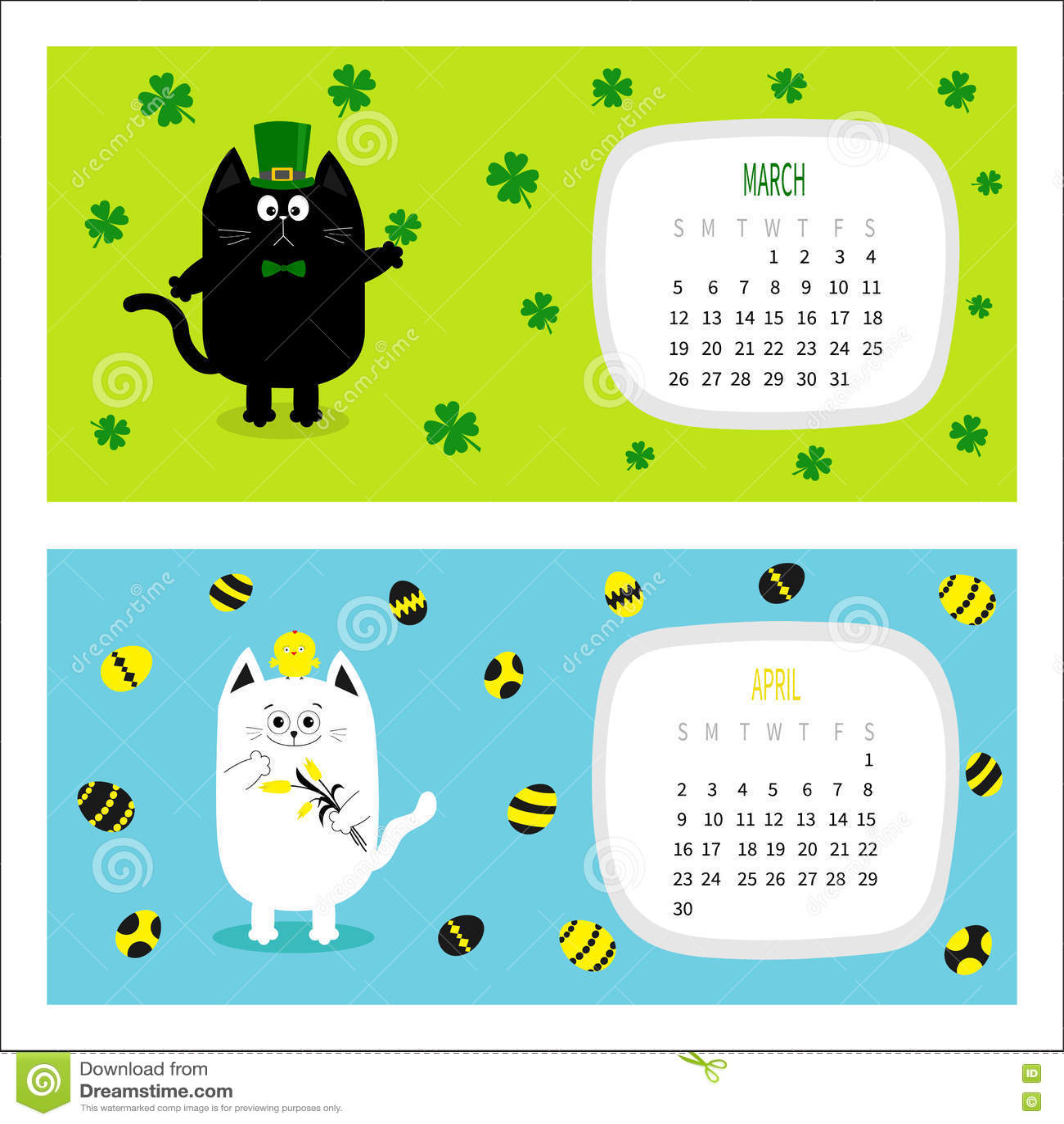 Cat Horizontal Calendar 2017. Cute Funny Cartoon Character Set. Stock  Vector .