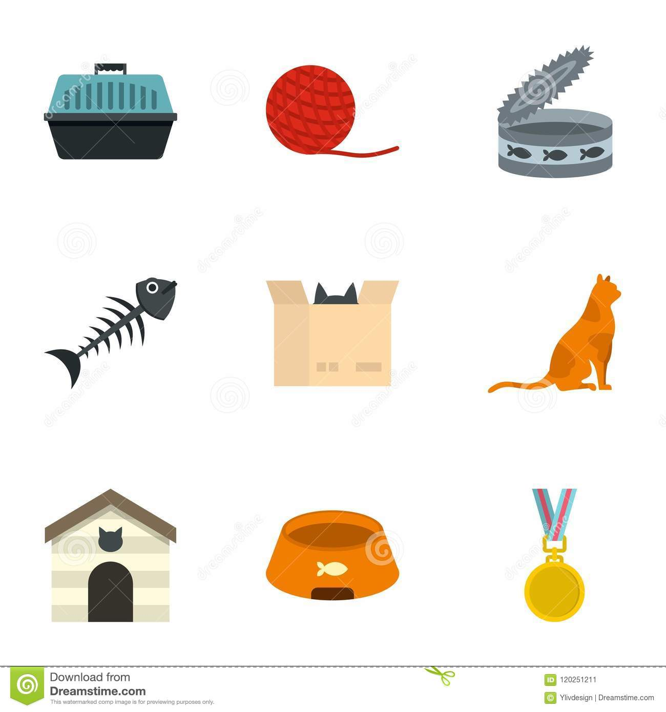 Pleasing Cat House Icons Set Cartoon Style Stock Vector Home Interior And Landscaping Synyenasavecom