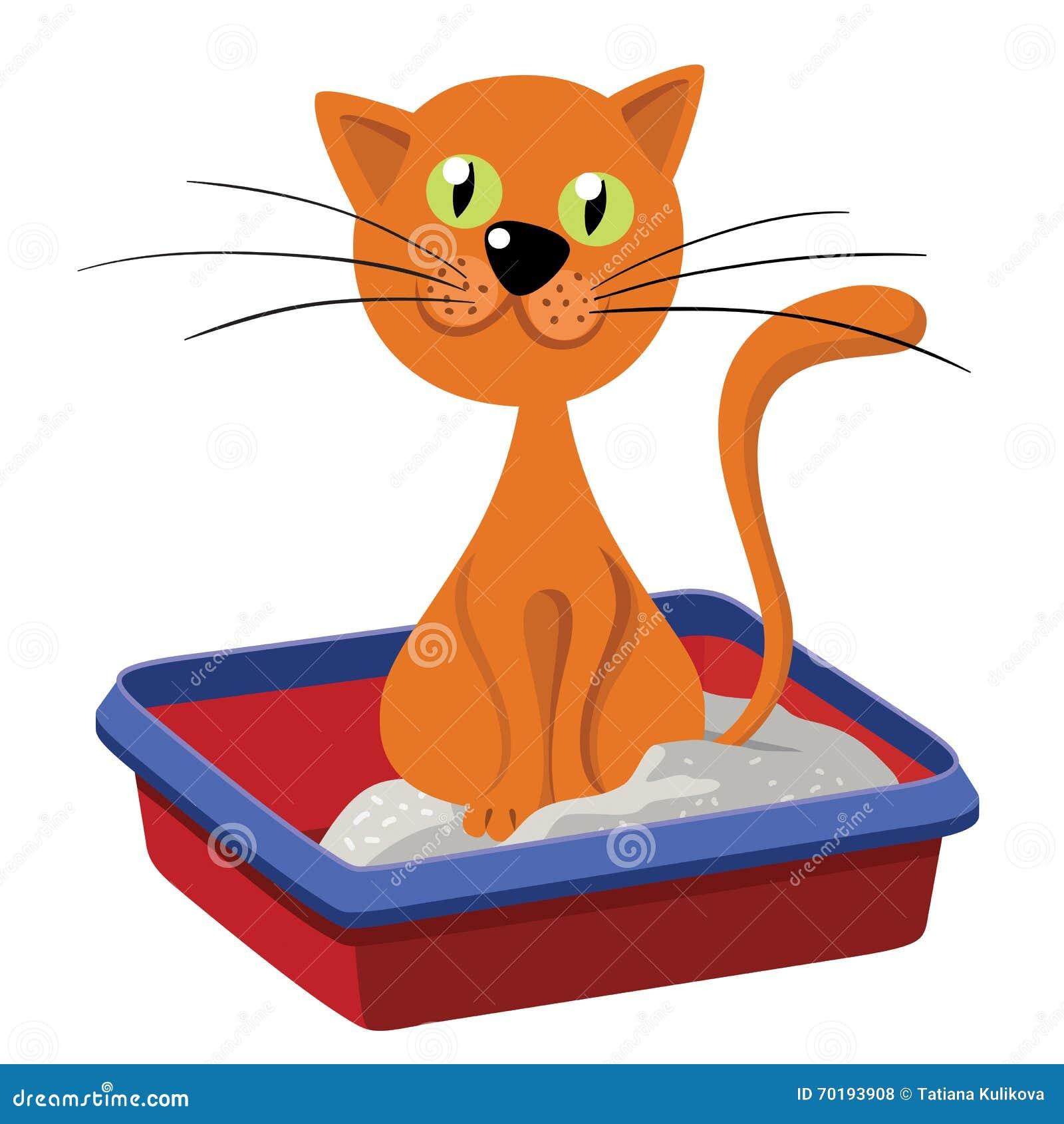 Cat Inside Litter Illustrationen av en rolig rödhårig man gjorde strimmig teckenet för den inhemska katten för tecknade filmen
