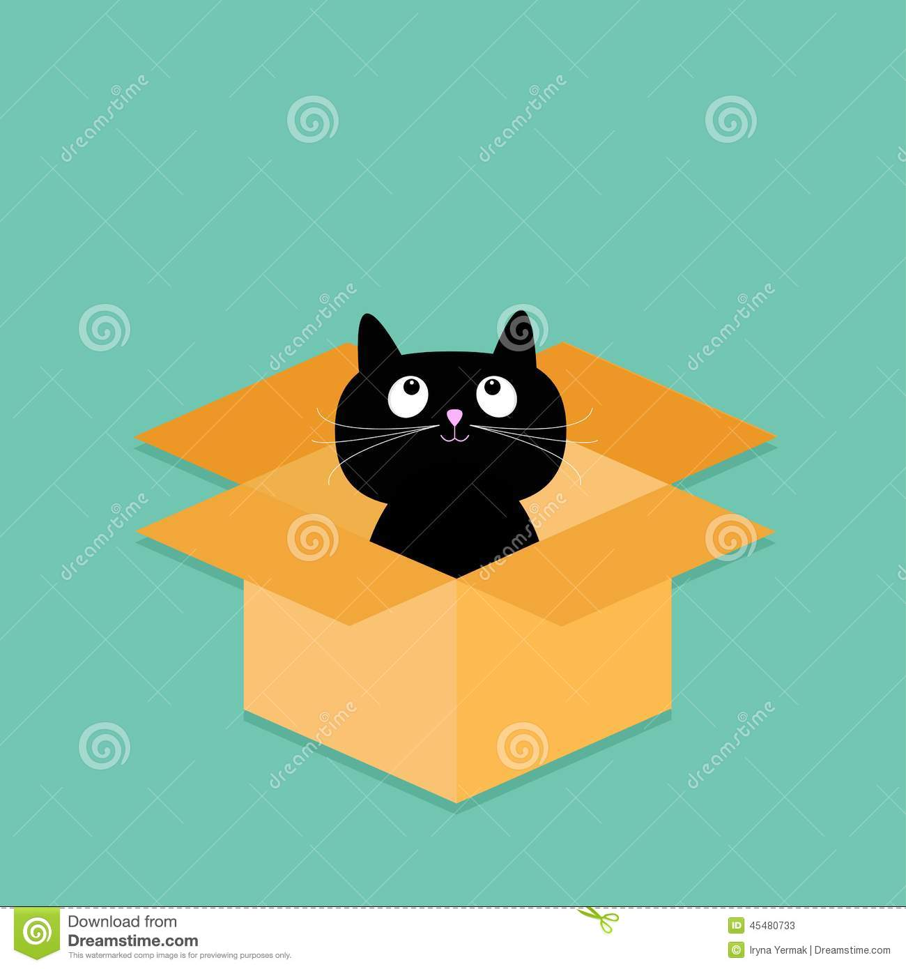 Cat Inside Opened Cardboard Package Box Flat Design Style Stock Vector Image 45480733