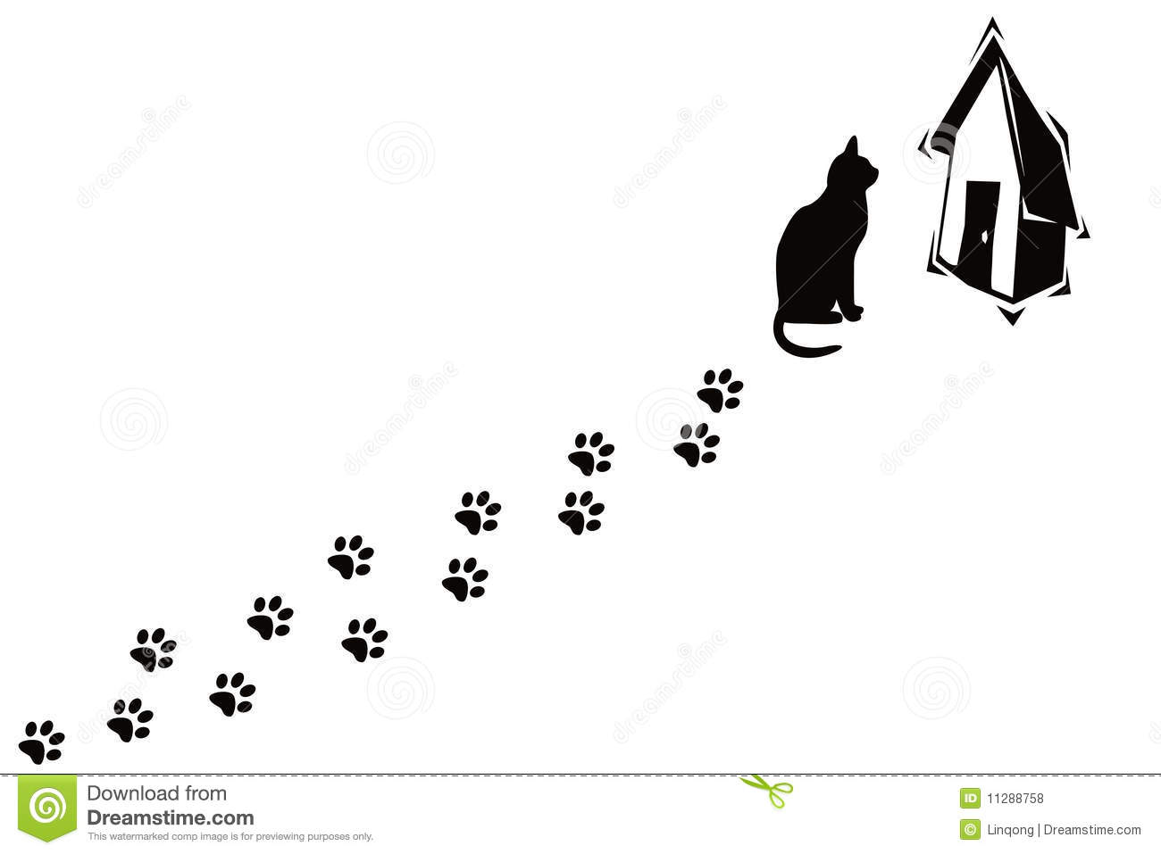 Cat And Its Paw Prints Stock Illustration Illustration Of Nature
