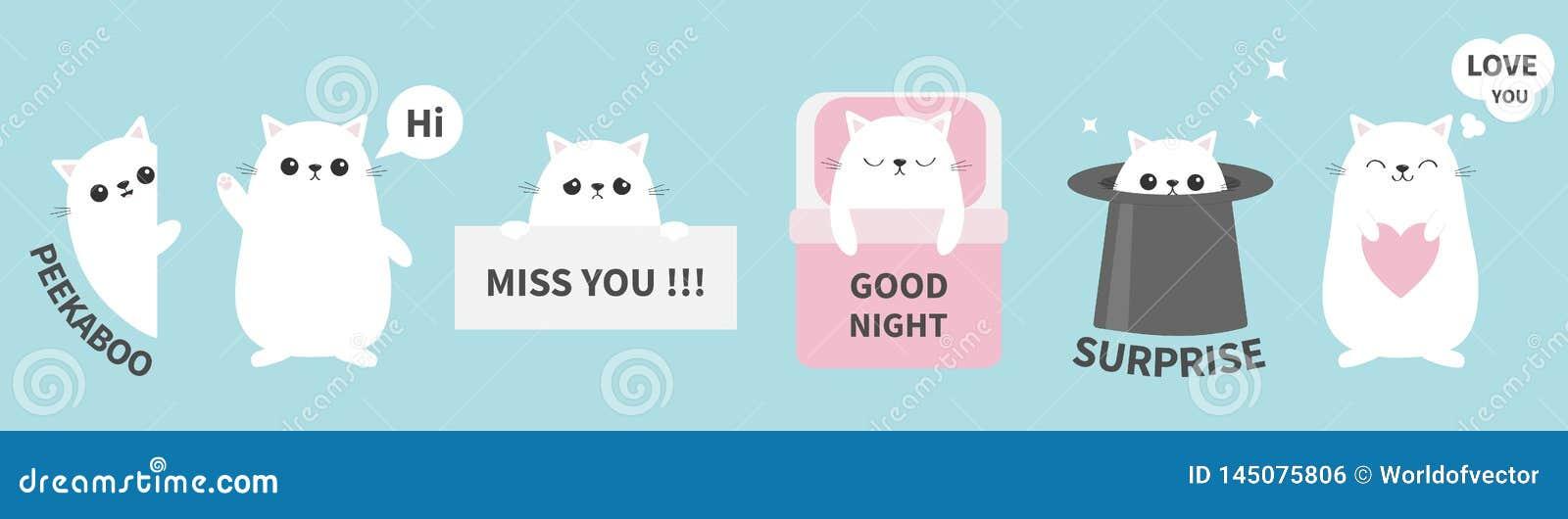 Cat Kitten Sticker Emotion Emoji Icon Set Line  Miss You  Hi  Good