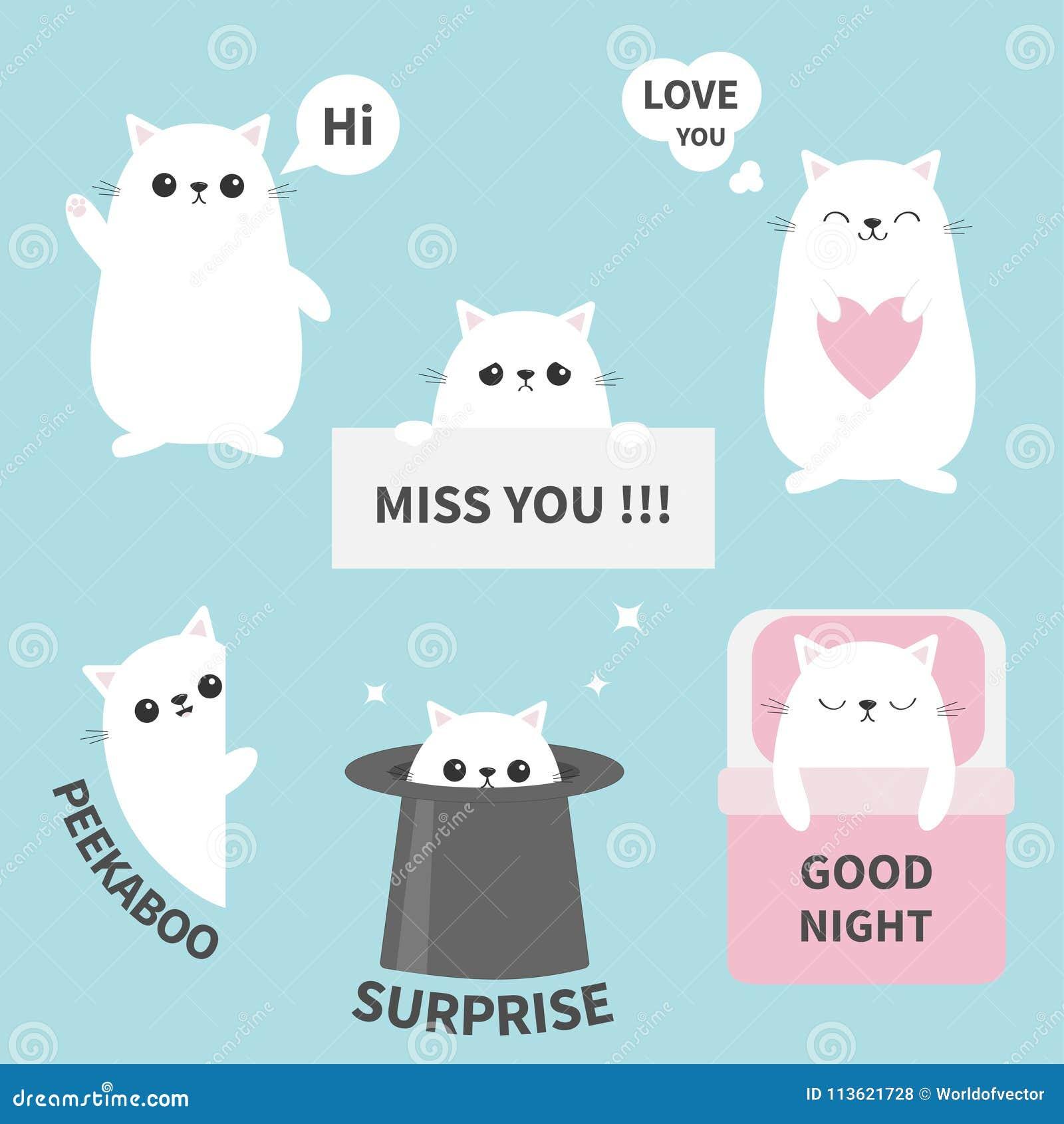 Cat Kitten Sticker Emotion Emoji Icon Set  Miss You  Hi  Good Night