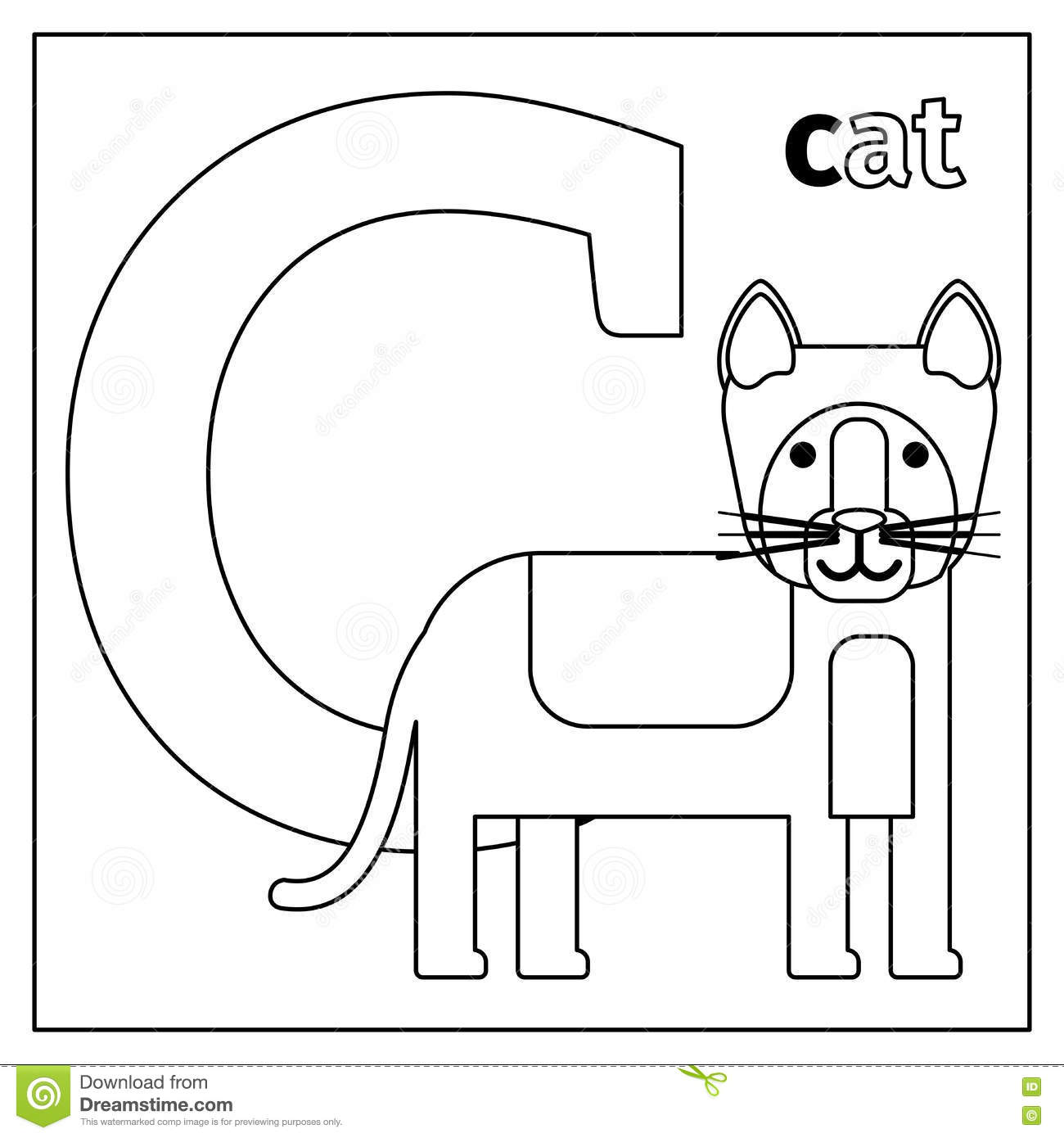 Cat Letter C Coloring Page Stock Vector Illustration Of Letter