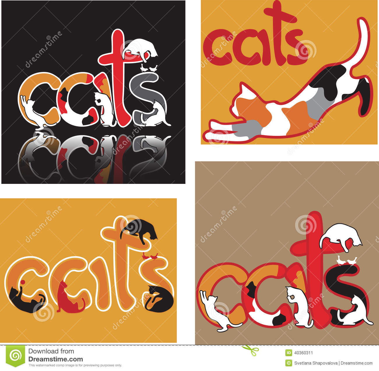 Cat Letters Stock Vector Illustration Of Siamese Simple