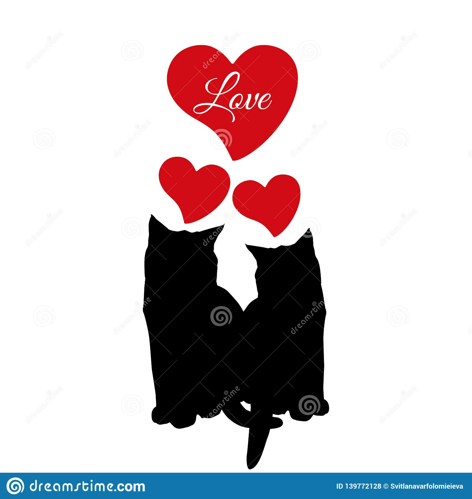 Cat love couple black silhouette, vector illustration
